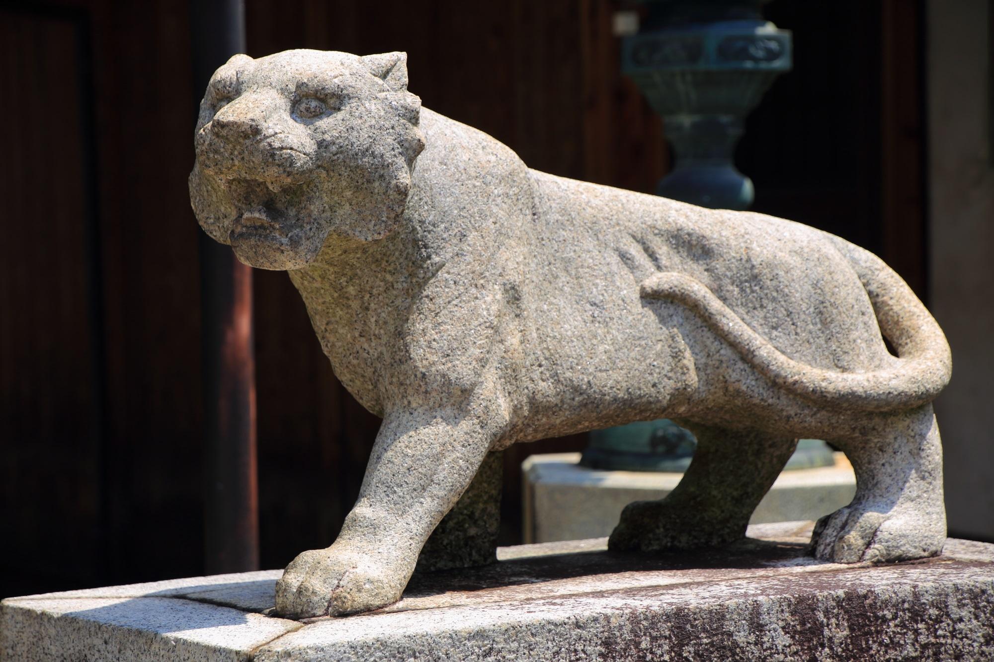建仁寺両足院の毘沙門天の吼えるようにお口を開けている阿吽の狛虎さん