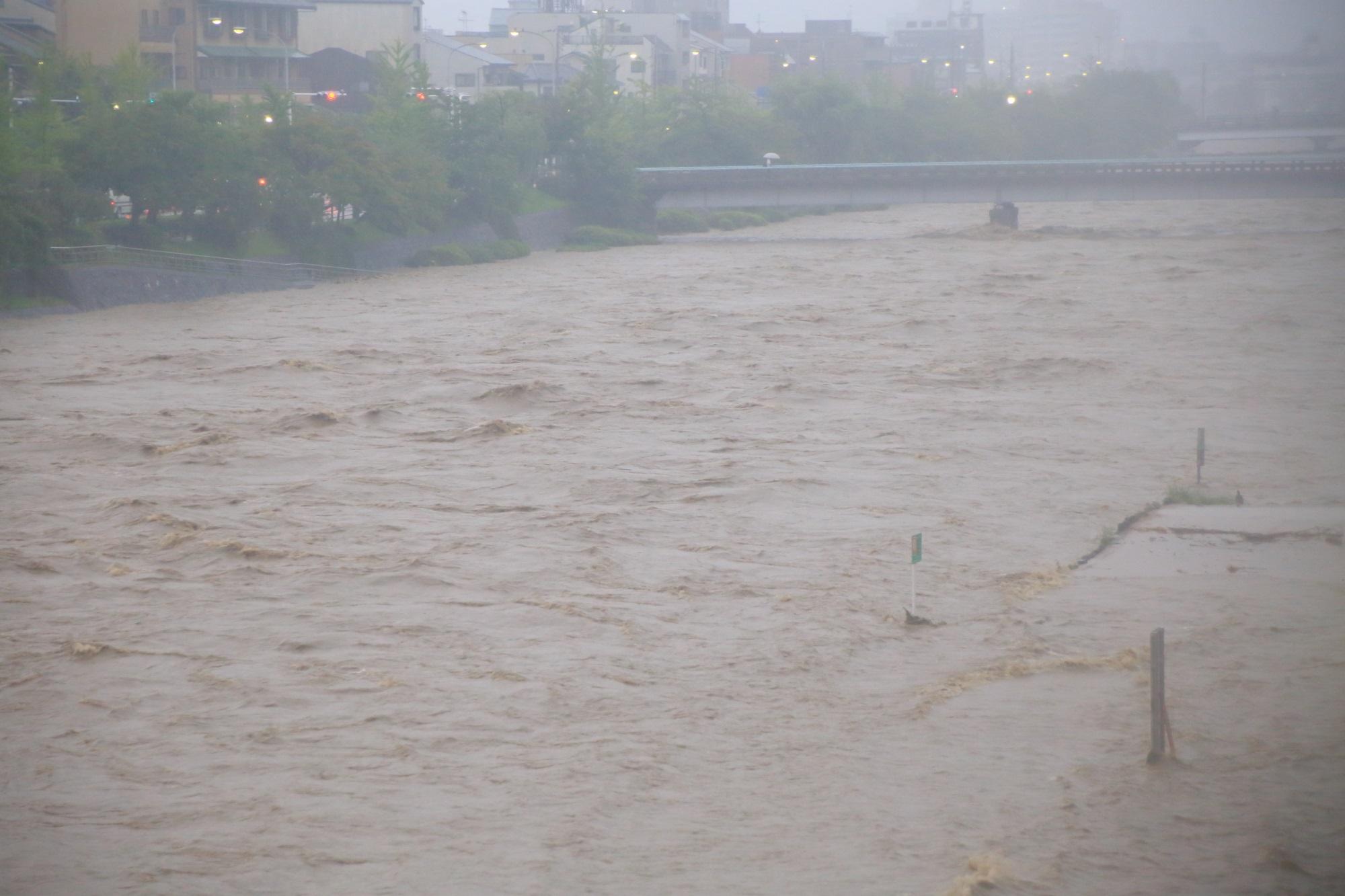 溢れ出しそうな大量の水が下流へと流れていく増水した鴨川