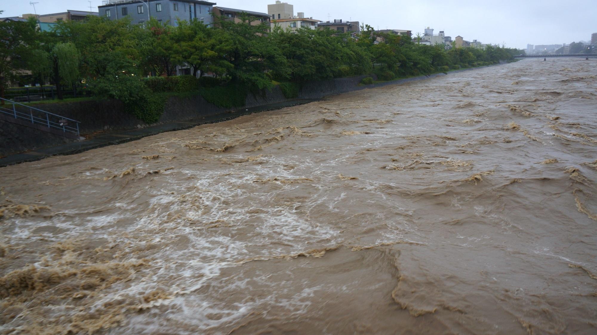 増水して危険な状態の鴨川