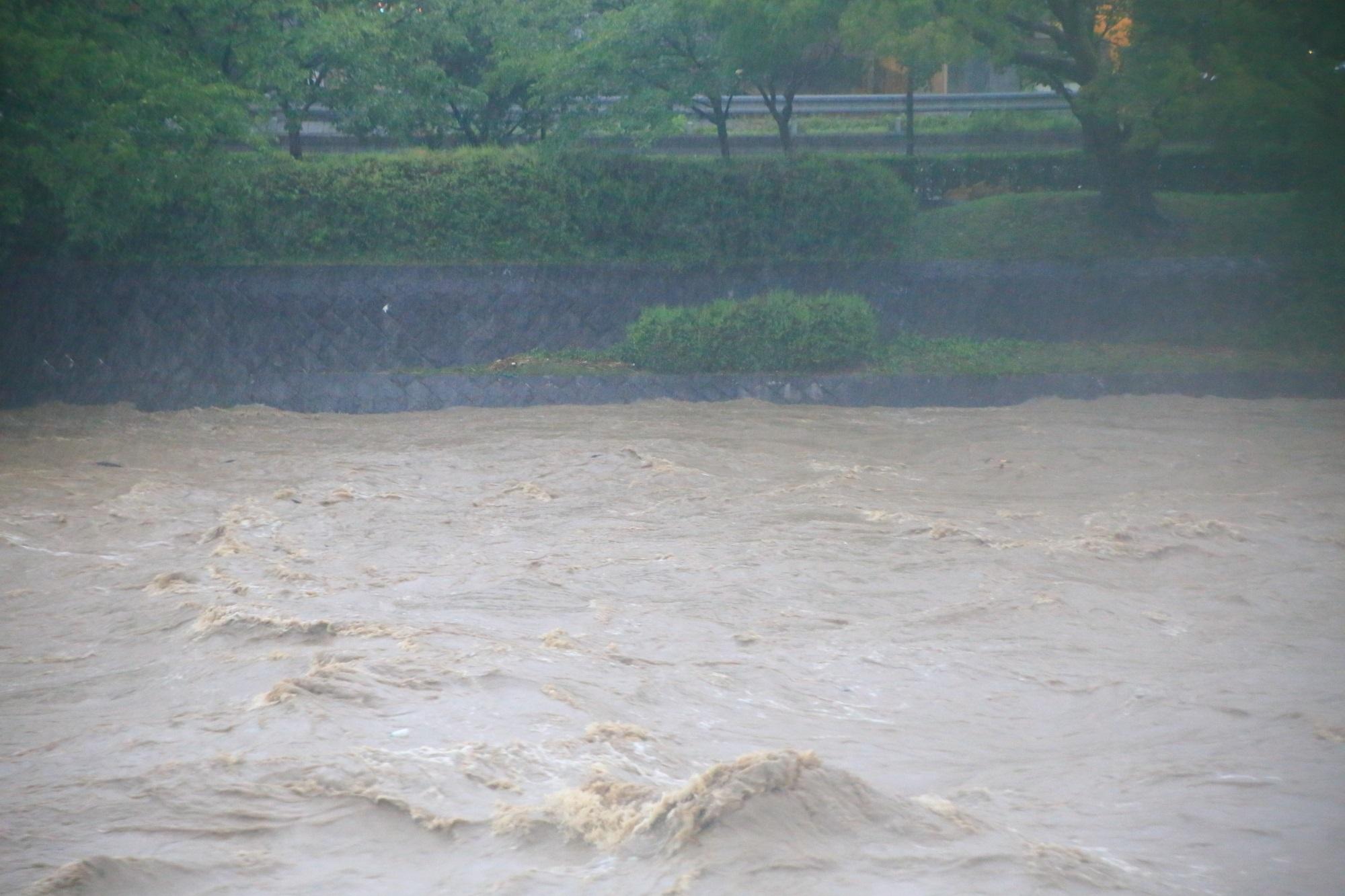 台風11号の大雨で増水して歩道が完全に水に浸かった2015年7月18日の鴨川