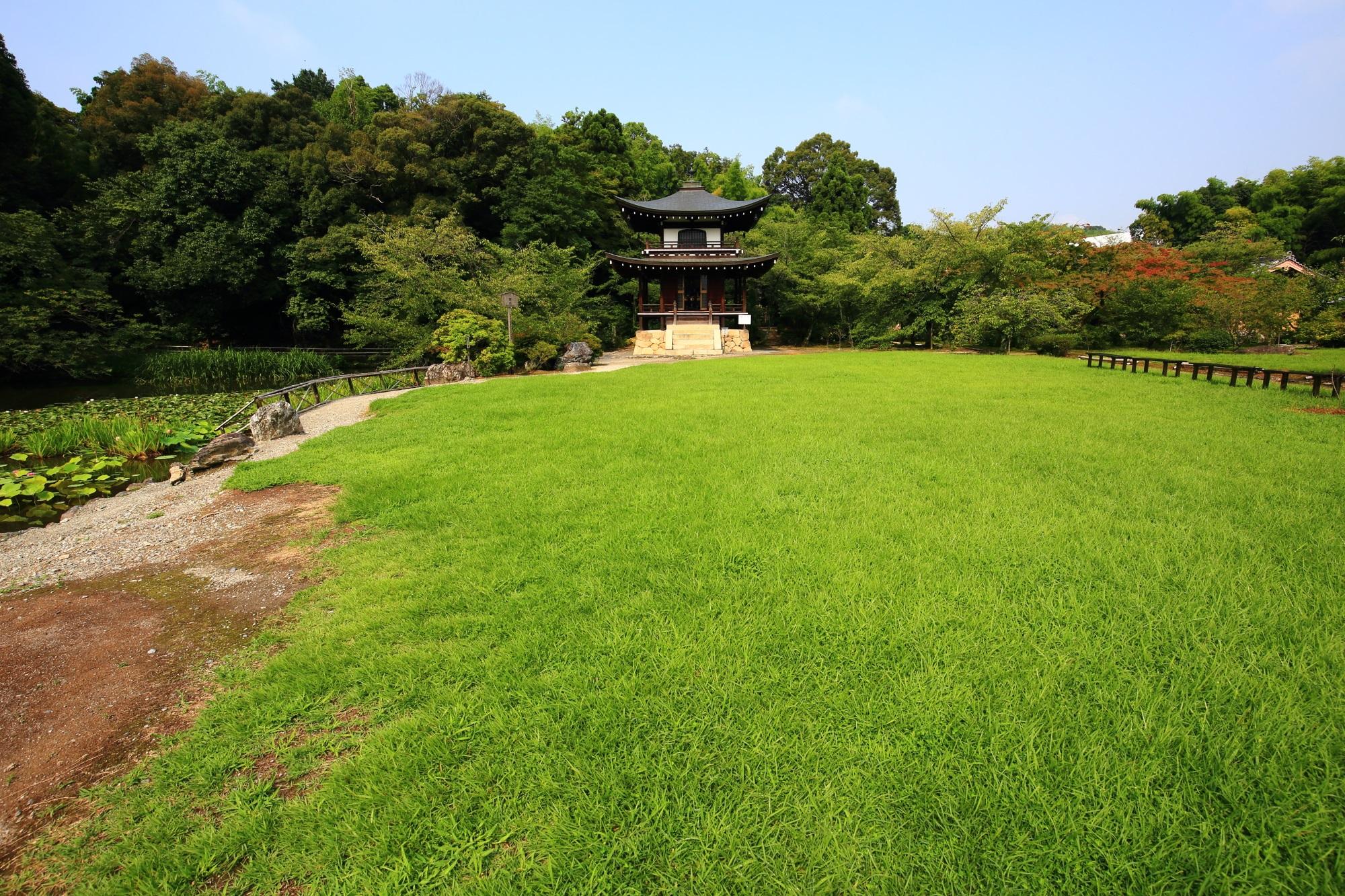 勧修寺の観音堂と広がる緑の芝生