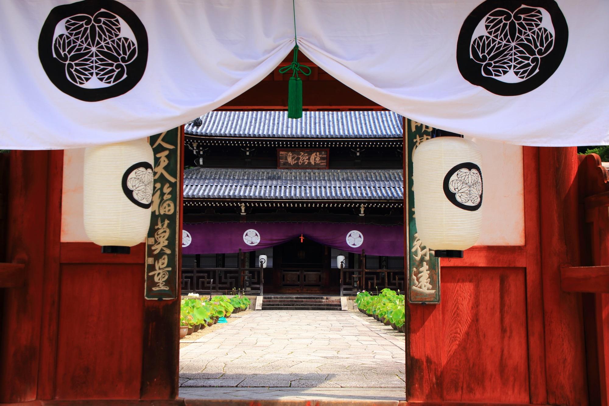 鮮やかな色合いの門から見える萬福寺の開山堂