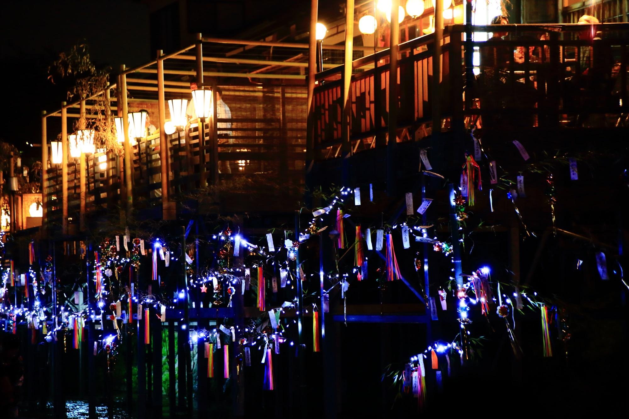 納涼床 大笹飾り 京の七夕 鴨川