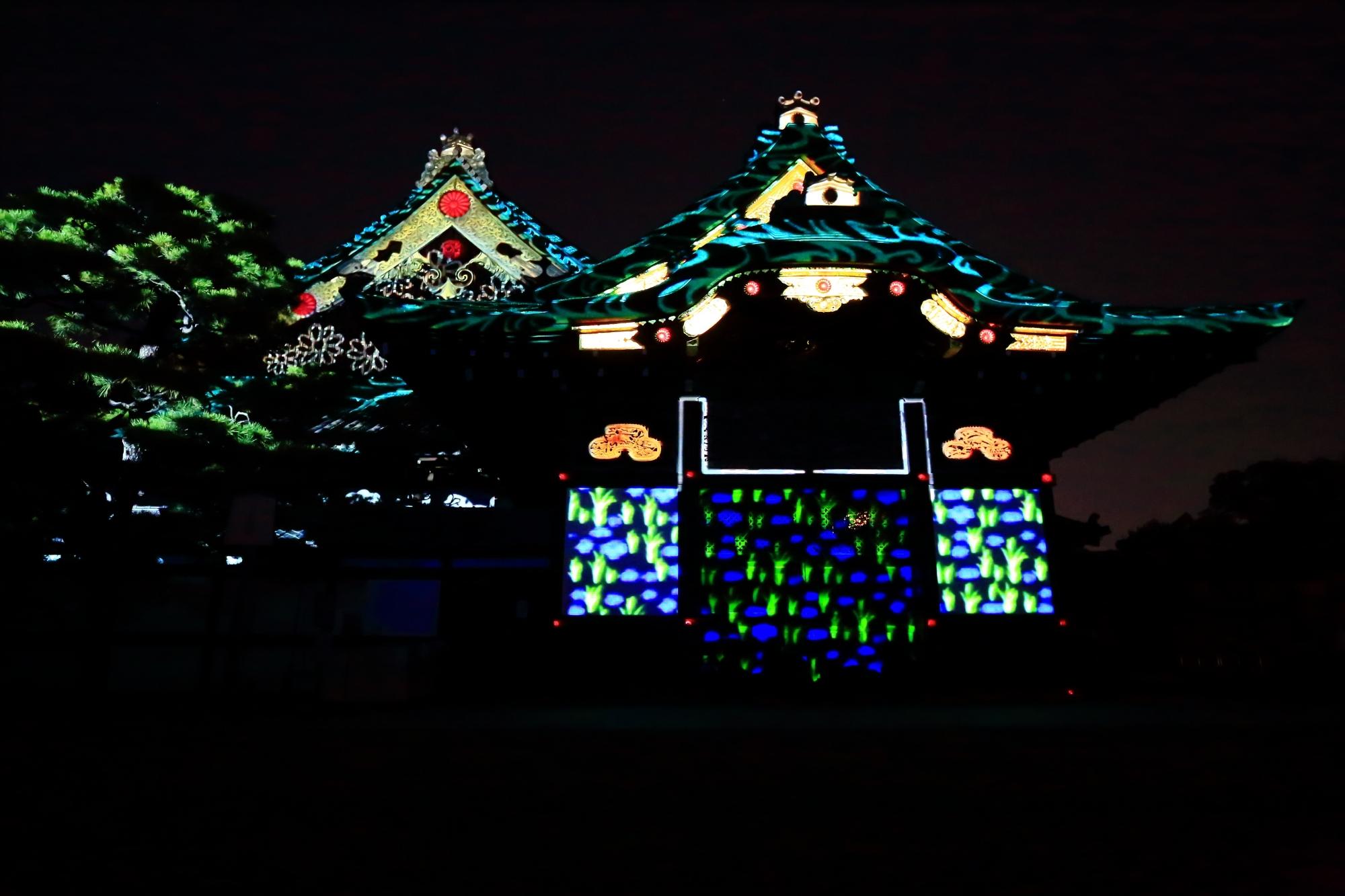 京の七夕堀川会場の二条城二の丸御殿プロジェクションマッピング