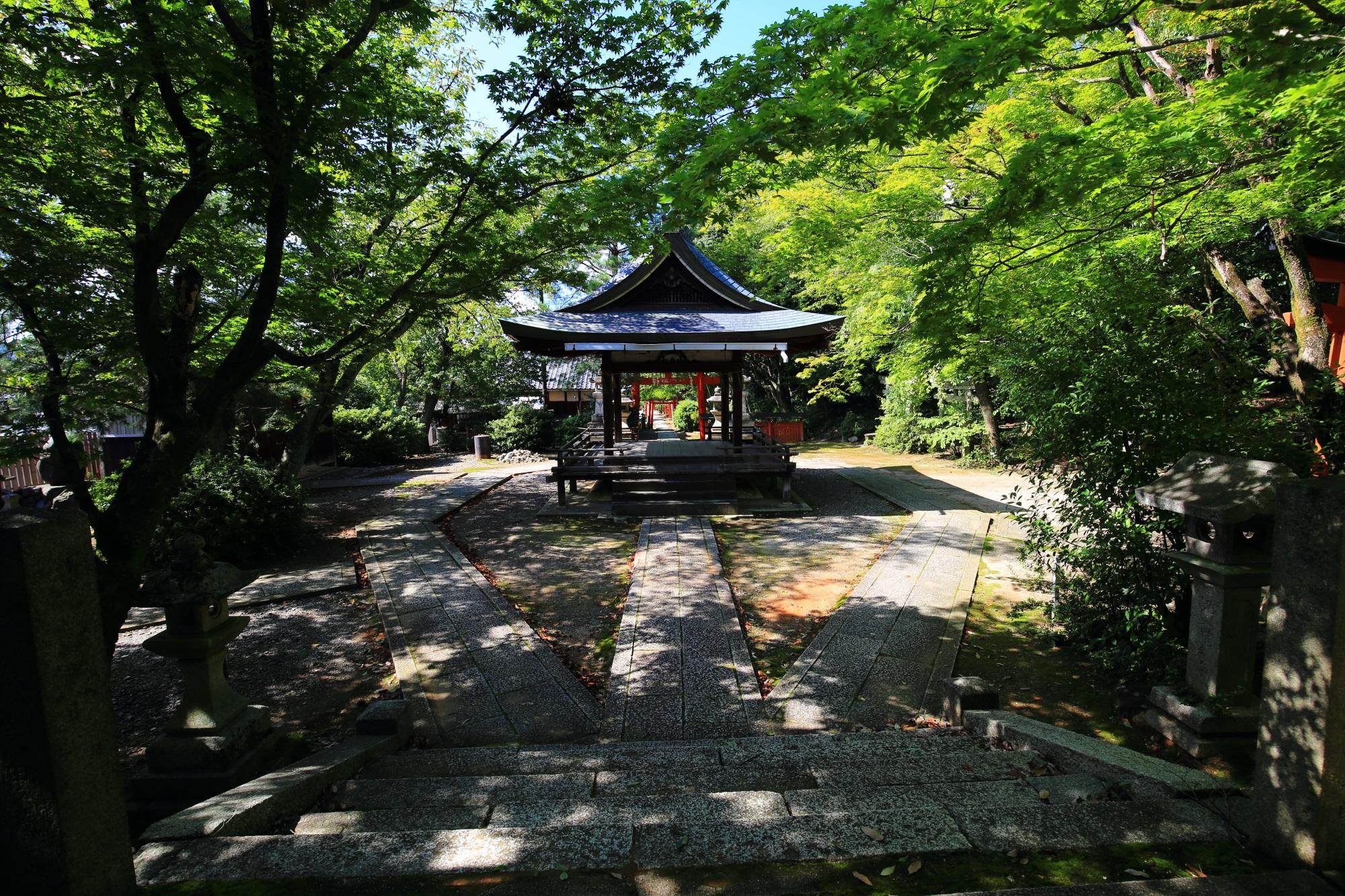 鮮やかな緑につつまれた本殿側から眺めた拝殿