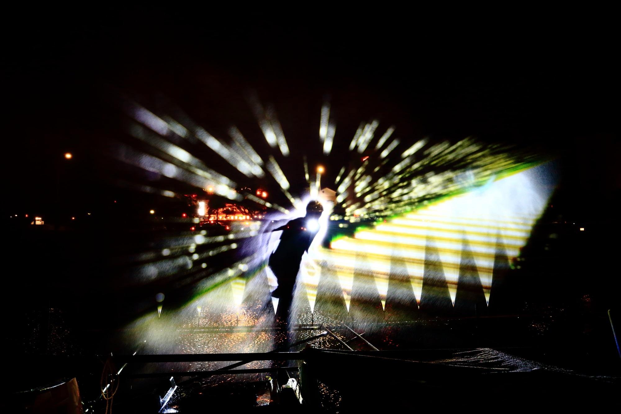 京の七夕鴨川会場の水と光の演出のウォーターアートプロジェクション