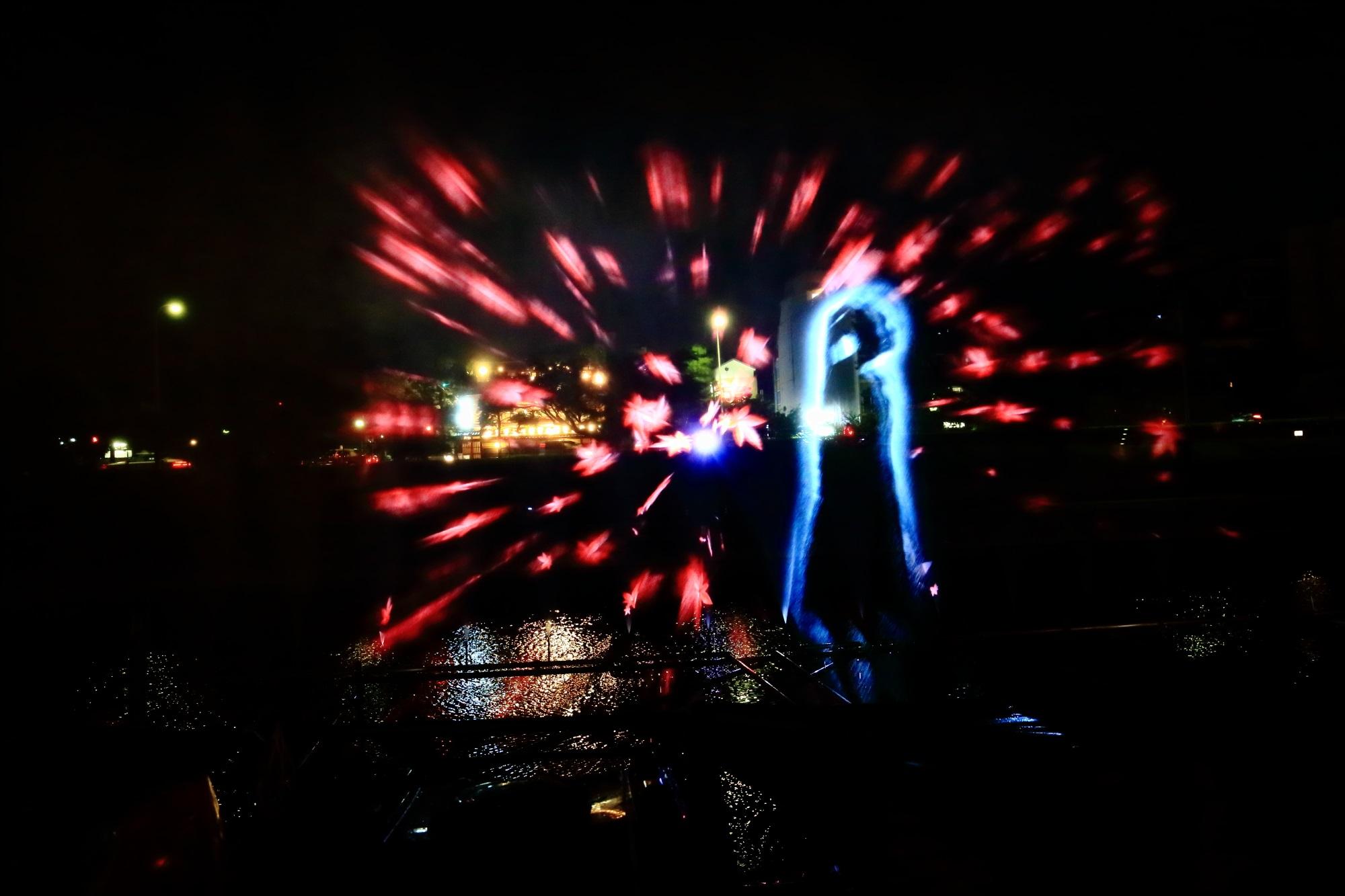 京の七夕鴨川会場の幻想的なウォーターアートプロジェクション