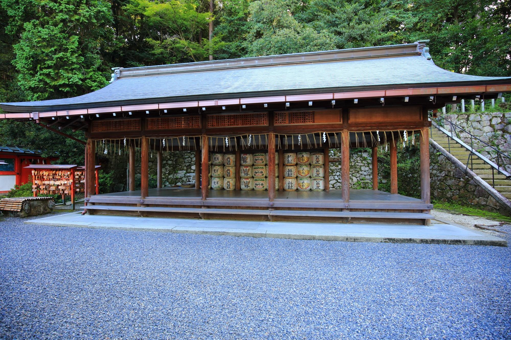 酒樽が並ぶ吉田神社