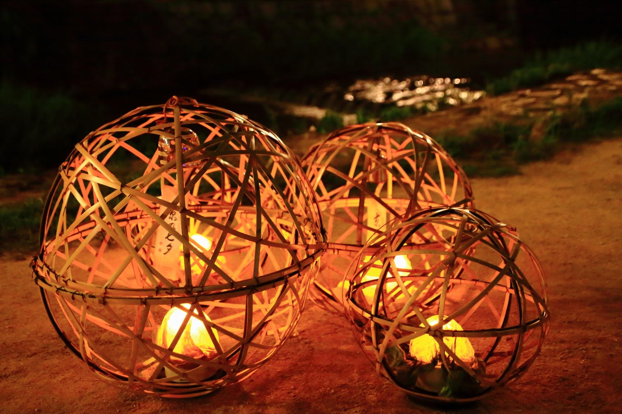 京の七夕鴨川会場の風情ある風鈴灯