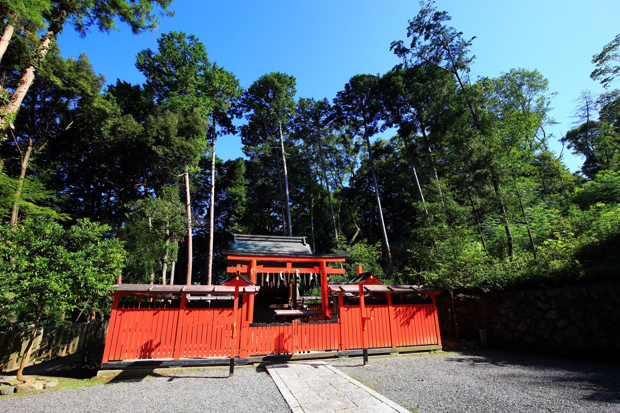 後ろの圧巻の緑と赤のコントラストが素晴らしい菓祖神社
