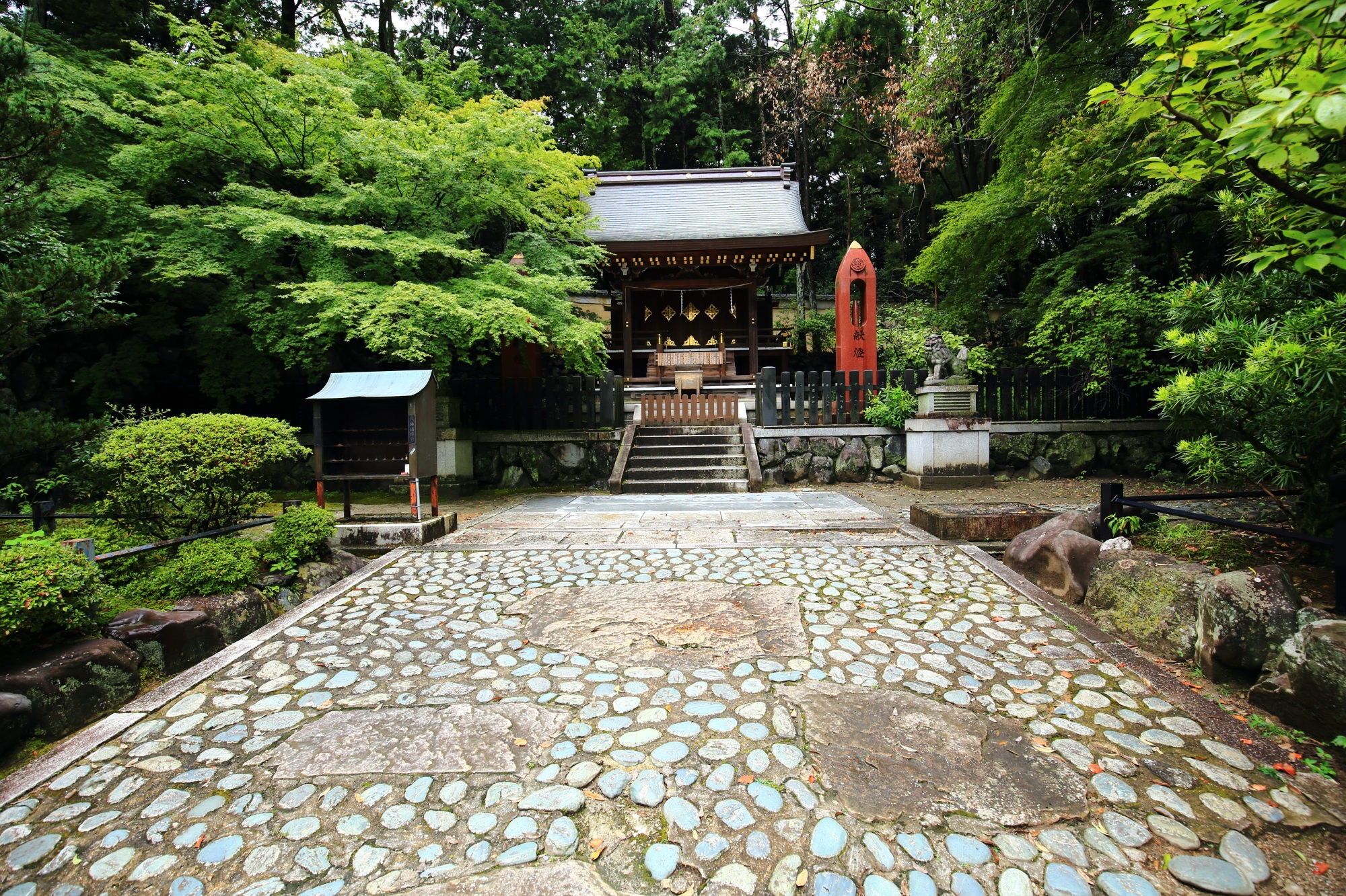 深い緑に囲まれた見事な佇まいの織姫社