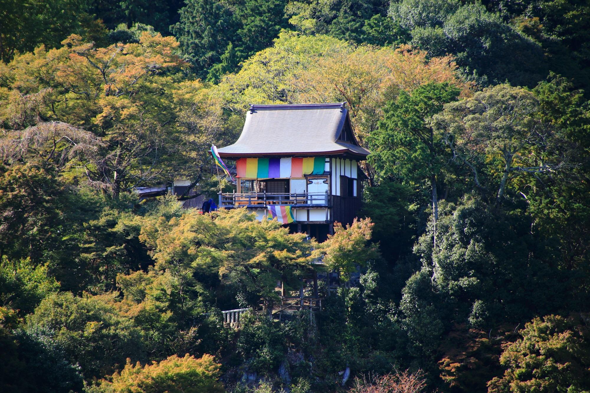 嵐山公園 亀山地区展望台から望む大悲閣 千光寺
