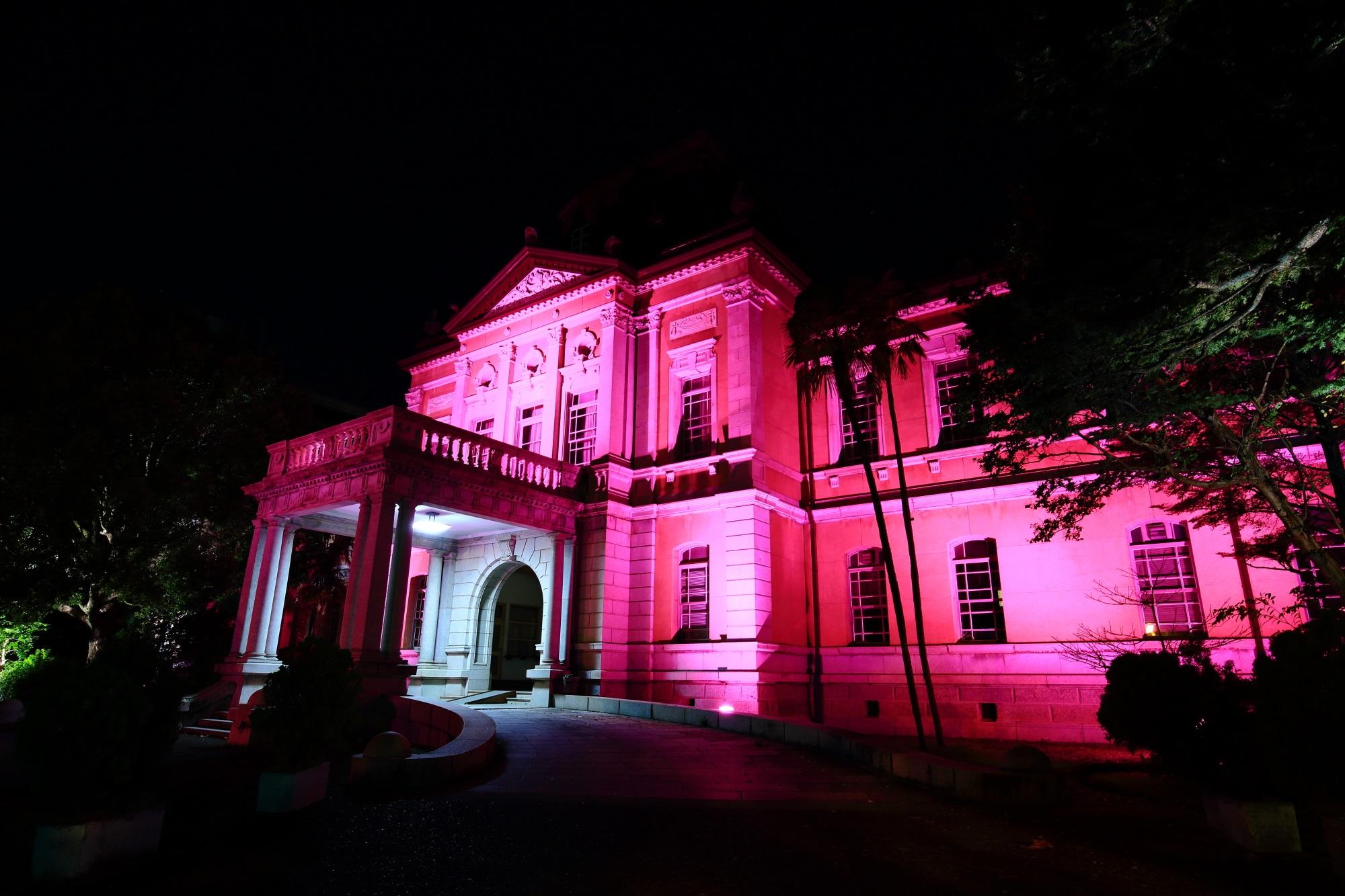 ピンクリボンライトアップの府庁旧本館