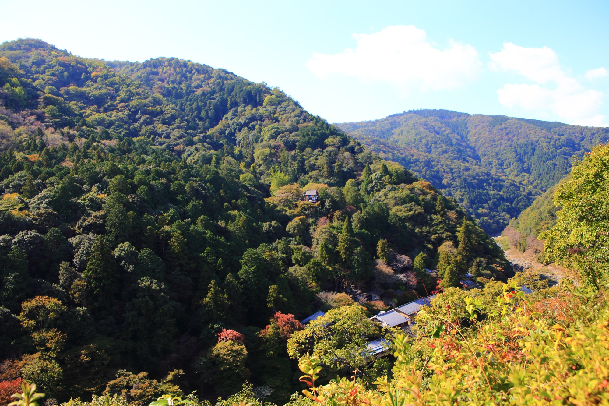 嵐山公園 亀山地区の展望台から眺める嵐山と大悲閣 千光寺
