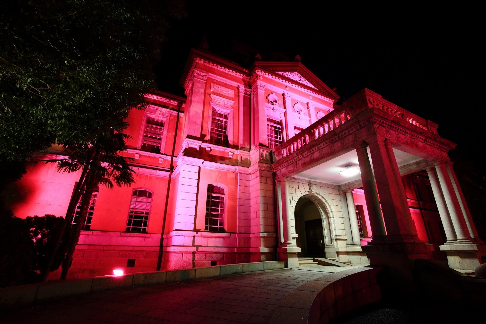 府庁旧本館のピンクリボンライトアップ