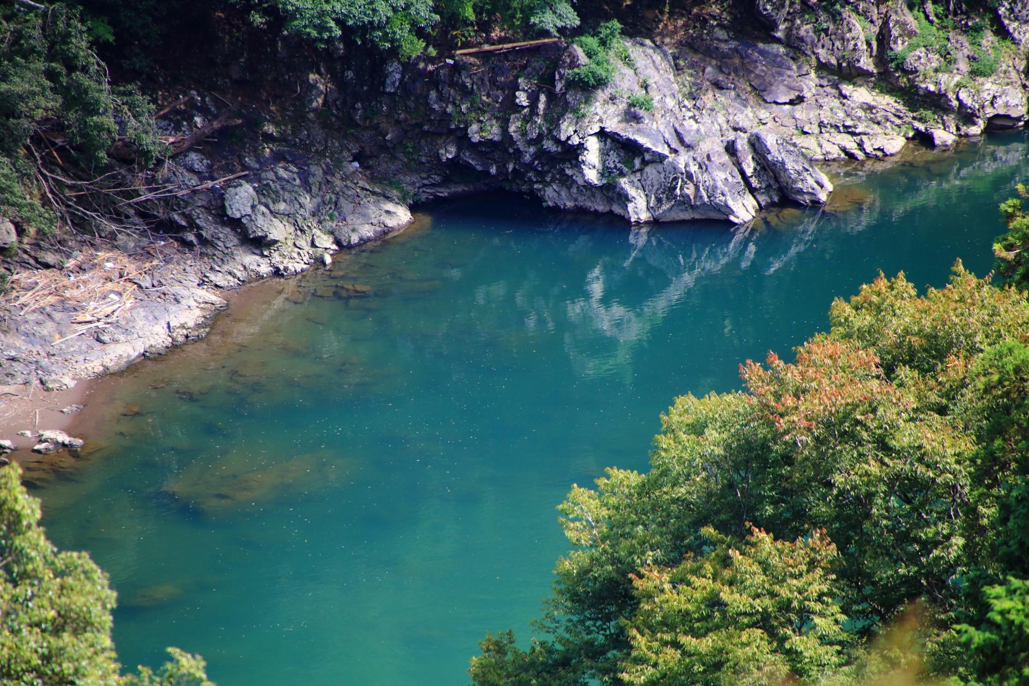 嵐山の秘境の大悲閣 千光寺から眺める保津川(桂川)