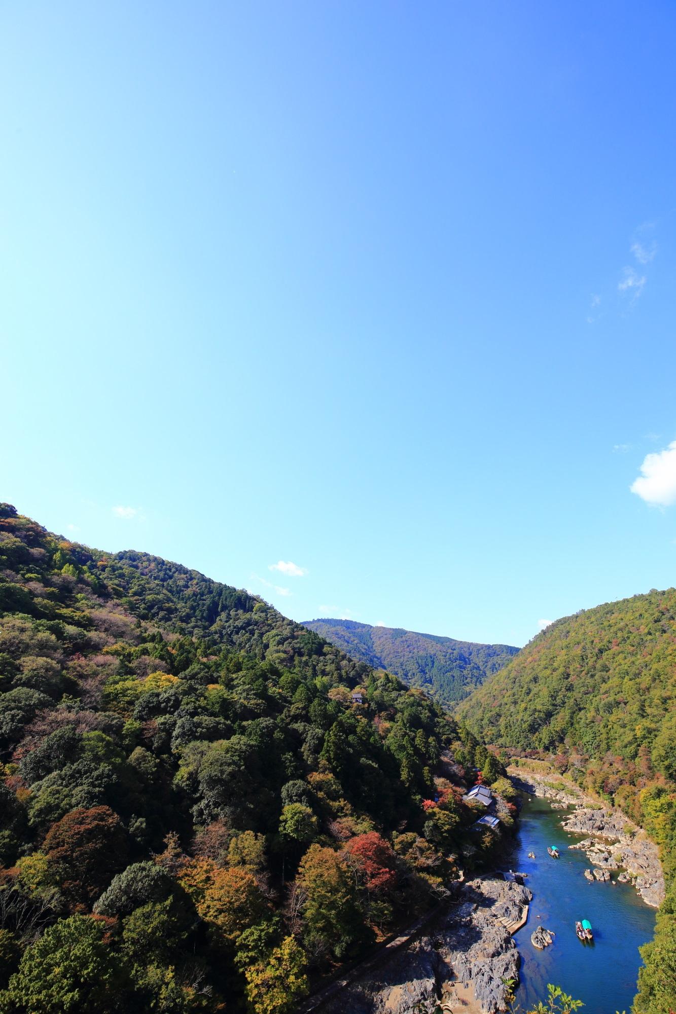 青い空 保津峡 絶景 嵐山公園 亀山地区 展望台