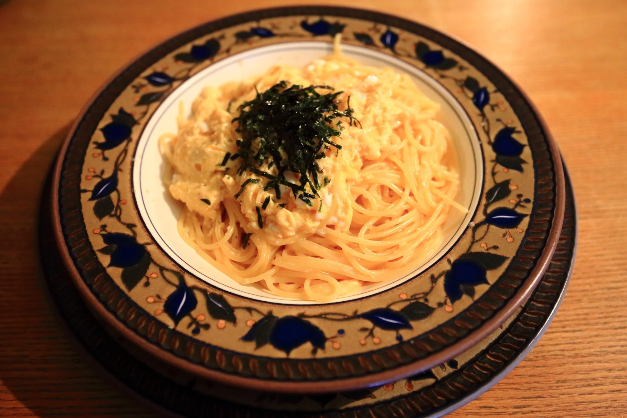 スパゲティ専門店カルドの玉子スパゲティ 明太子(... スパゲティの上にふわふわ玉子が乗っていま