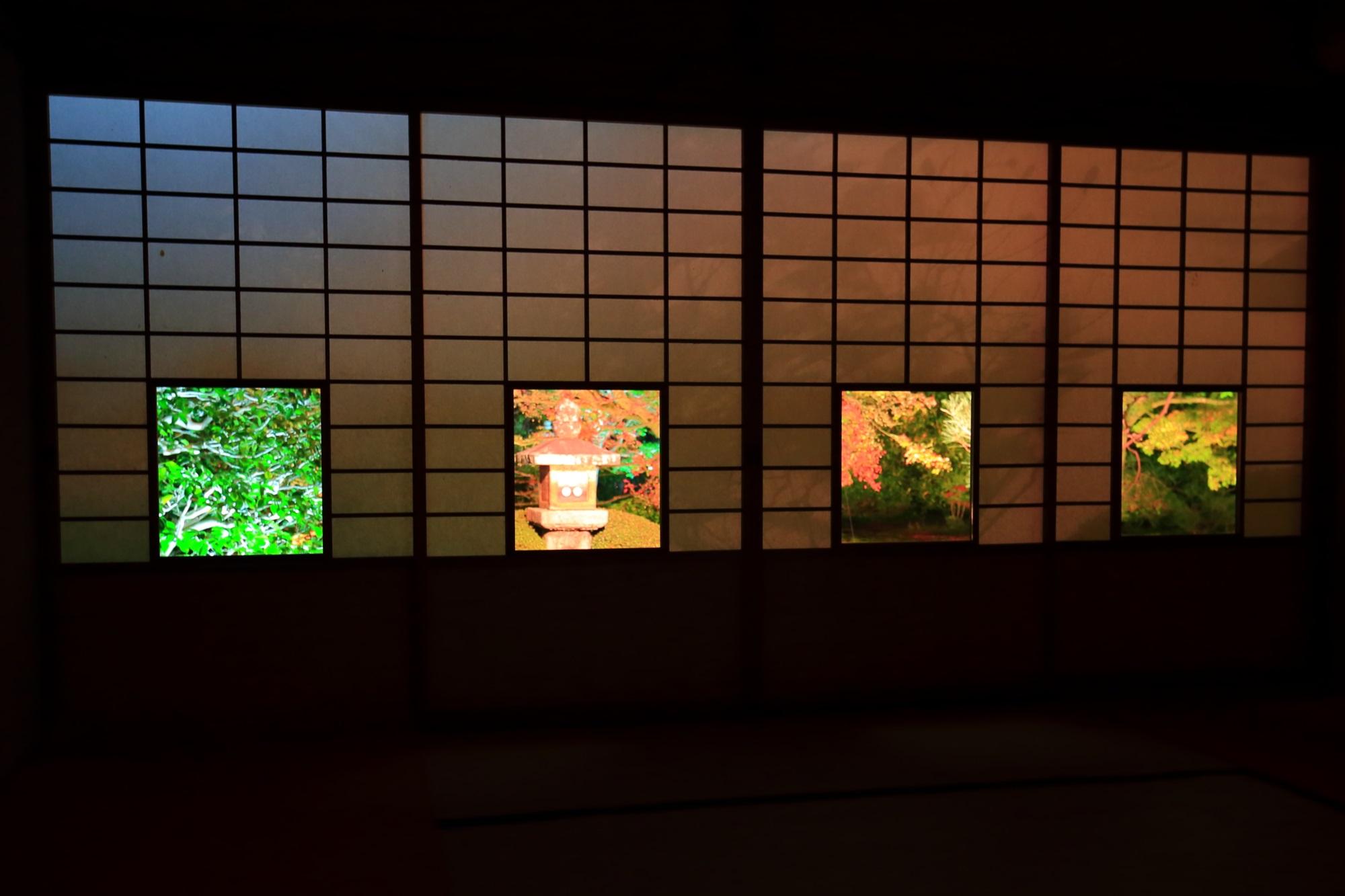 泉涌寺別院のうんりゅういんの蓮華の間の紅葉ライトアップ