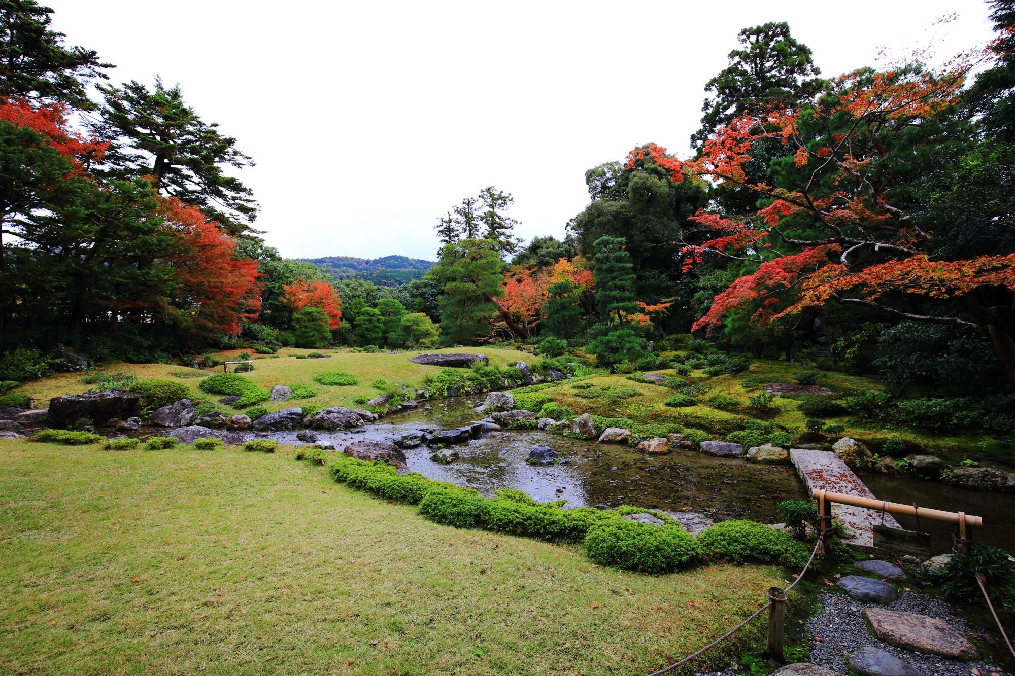 優雅な庭園の緑と水を上品に染める紅葉