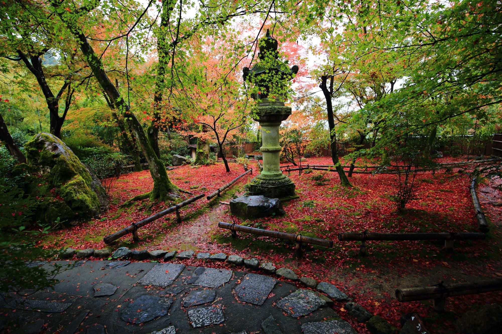 Kyoto Jikisi-an 紅葉 灯籠 苔庭 散りもみじ