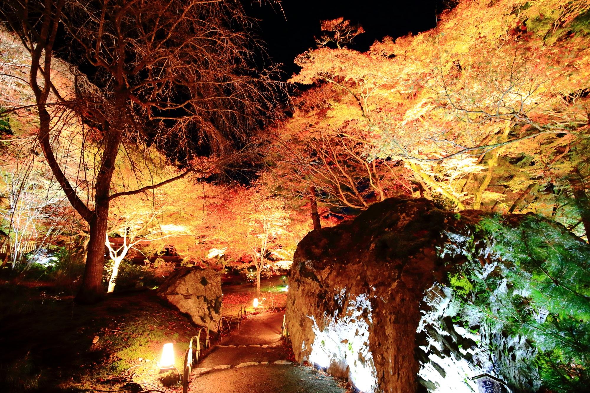 嵐山天龍寺の宝厳院の碧岩と見ごろの紅葉ライトアップ