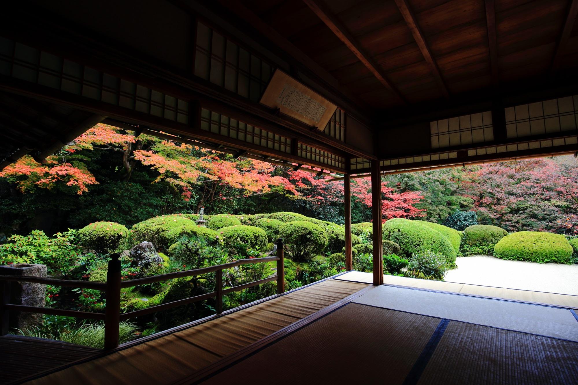 洛北の名刹の詩仙堂の庭園の紅葉