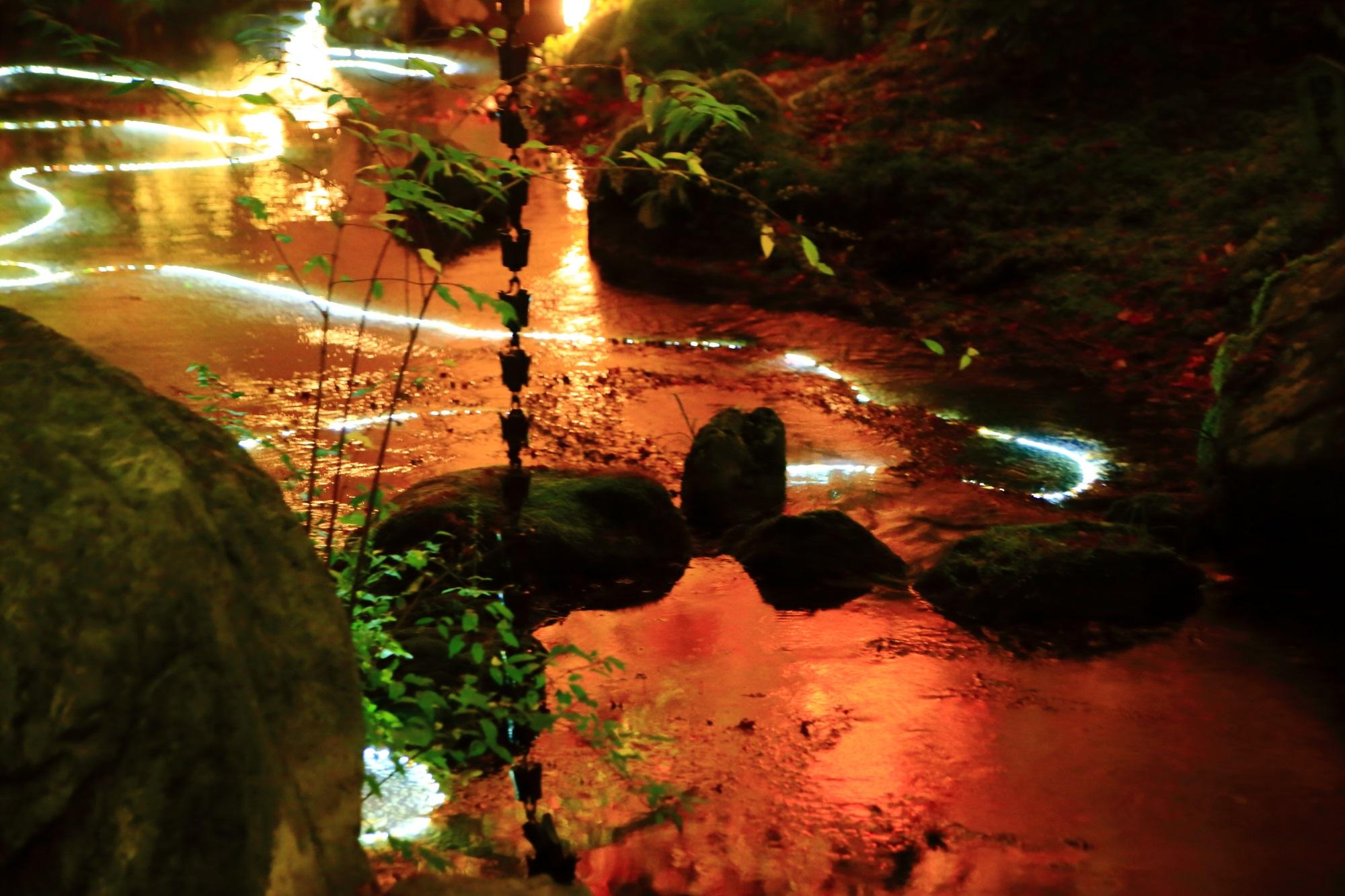 嵐山の宝厳院の獅子吼の庭の紅葉の水鏡と光の演出