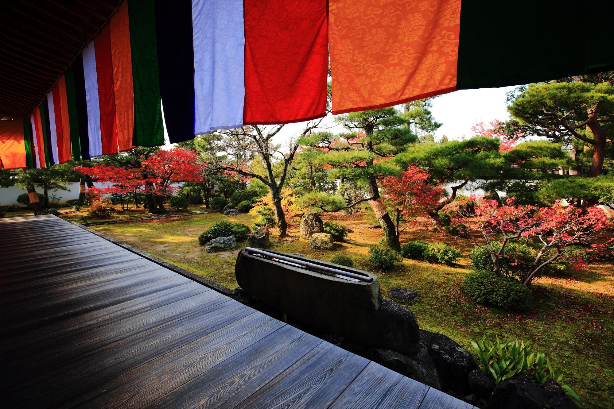 秋風に揺らめく仏旗の下に広がる多彩な秋の庭園