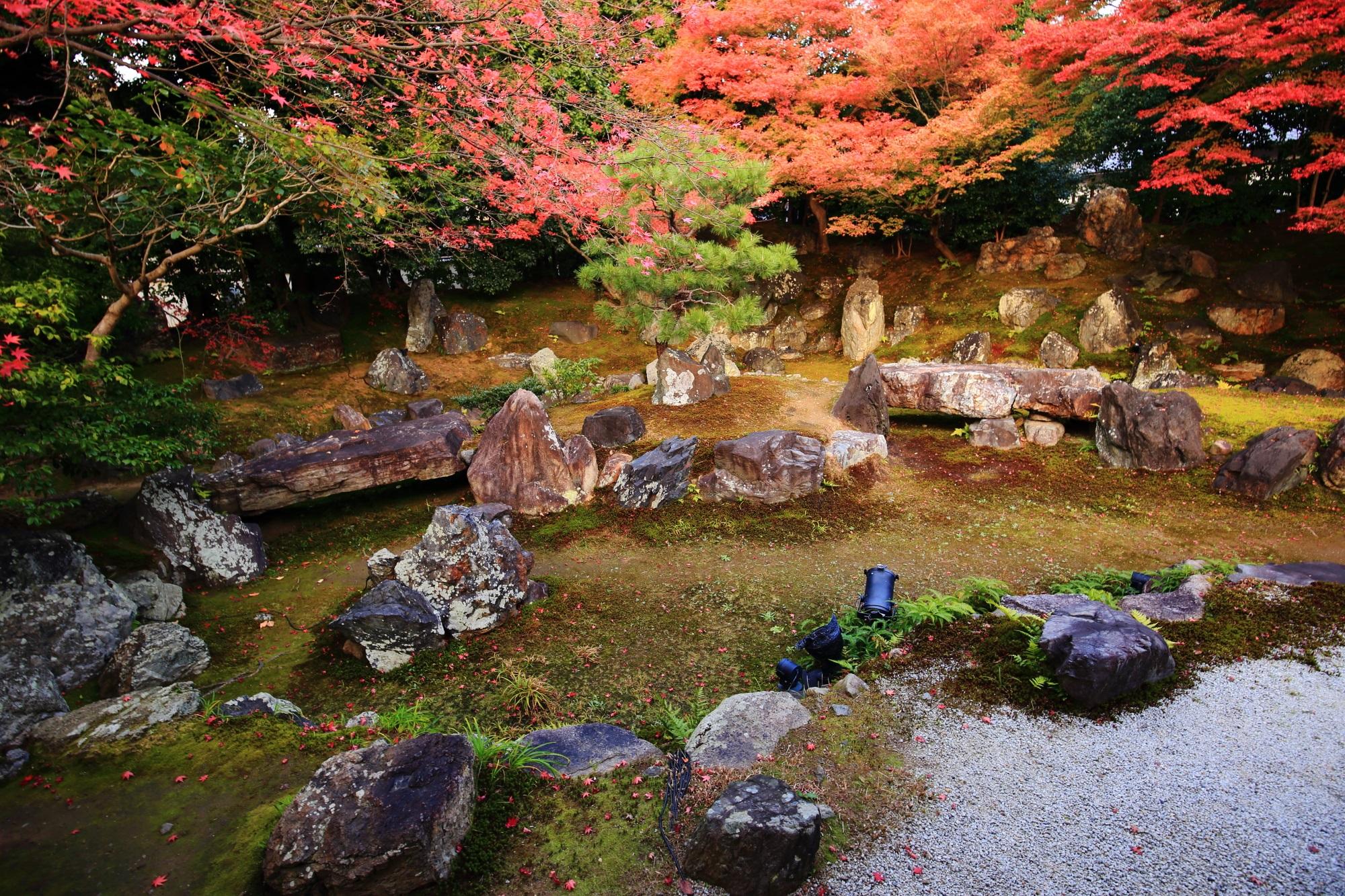 えんとくいんの北庭の見ごろの紅葉と豪快な岩
