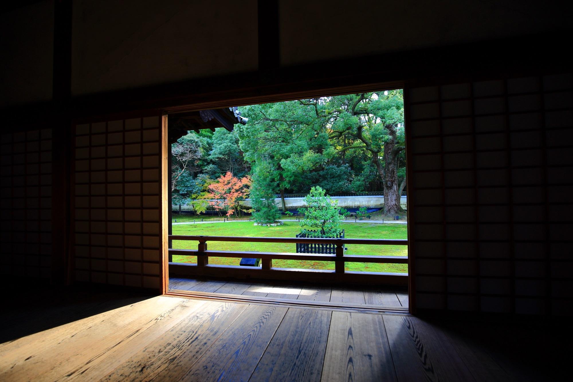 青蓮院門跡の宸殿から眺めた美しい庭園