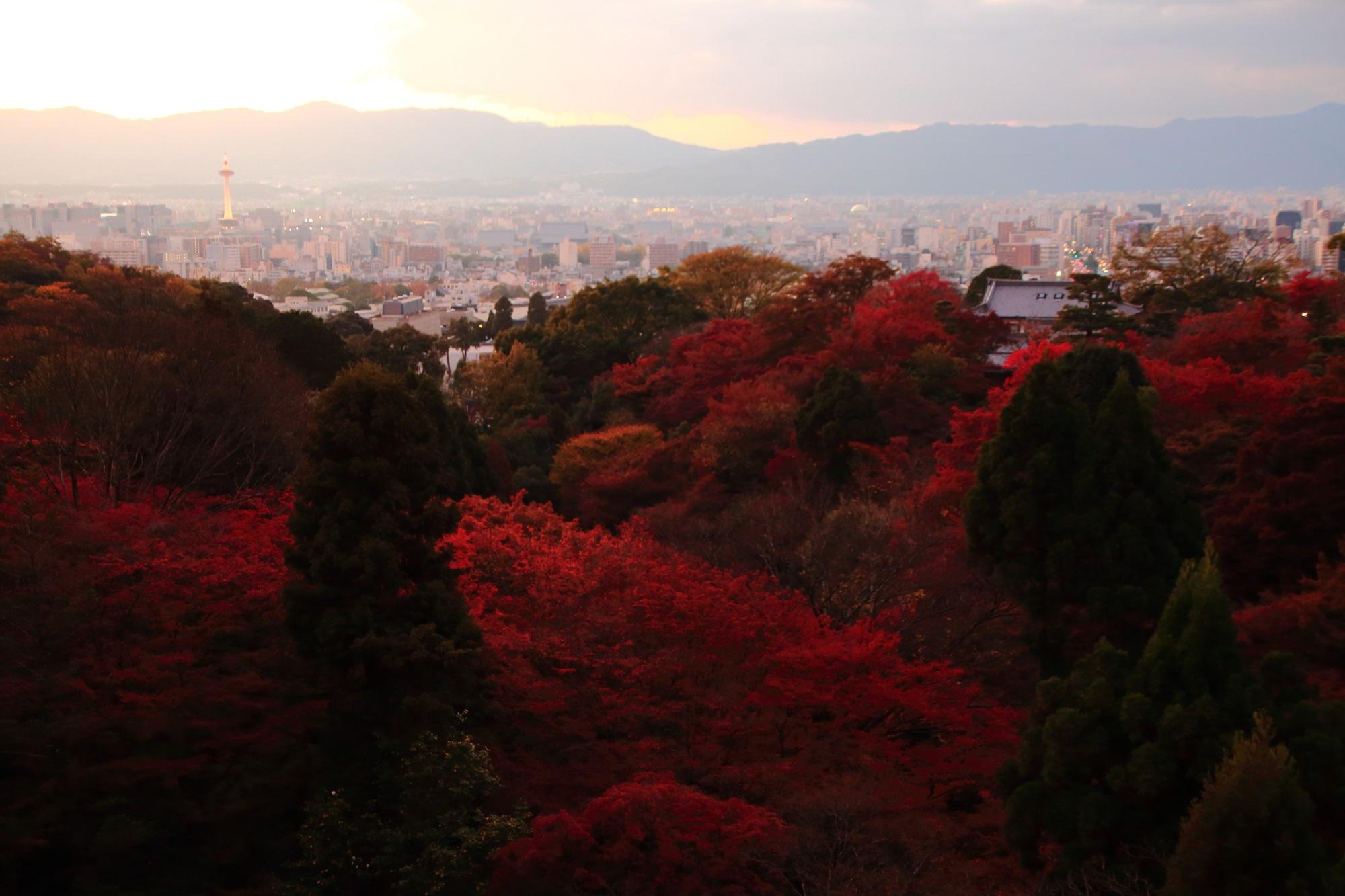清水寺から眺めた夕焼けの紅葉と京都タワー