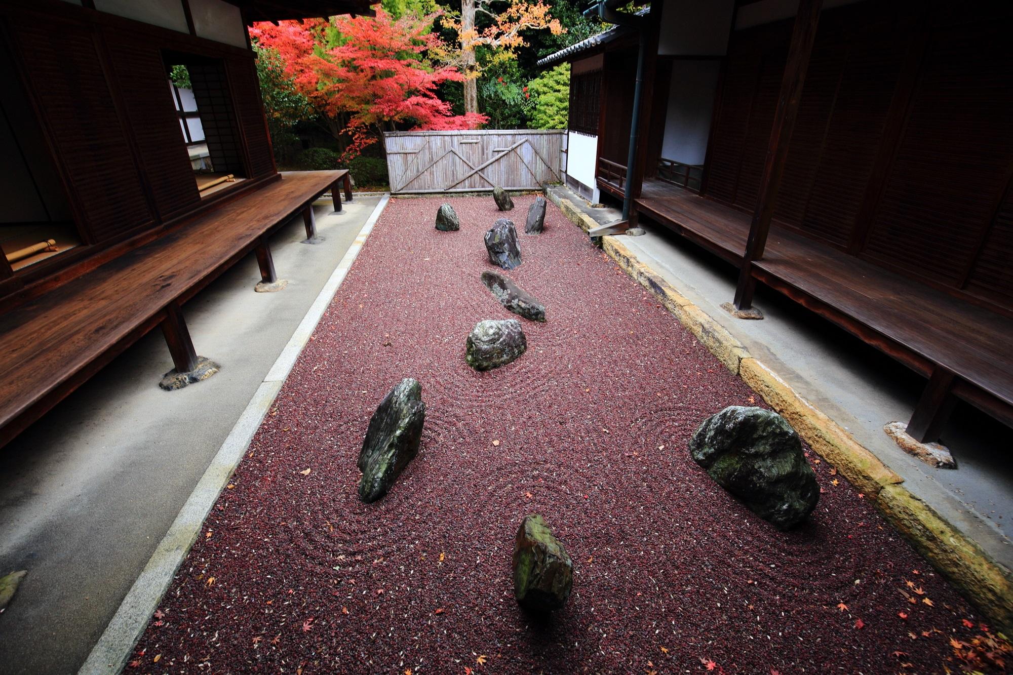 東福寺龍吟庵の不離の庭の赤砂と岩と鮮やかな紅葉