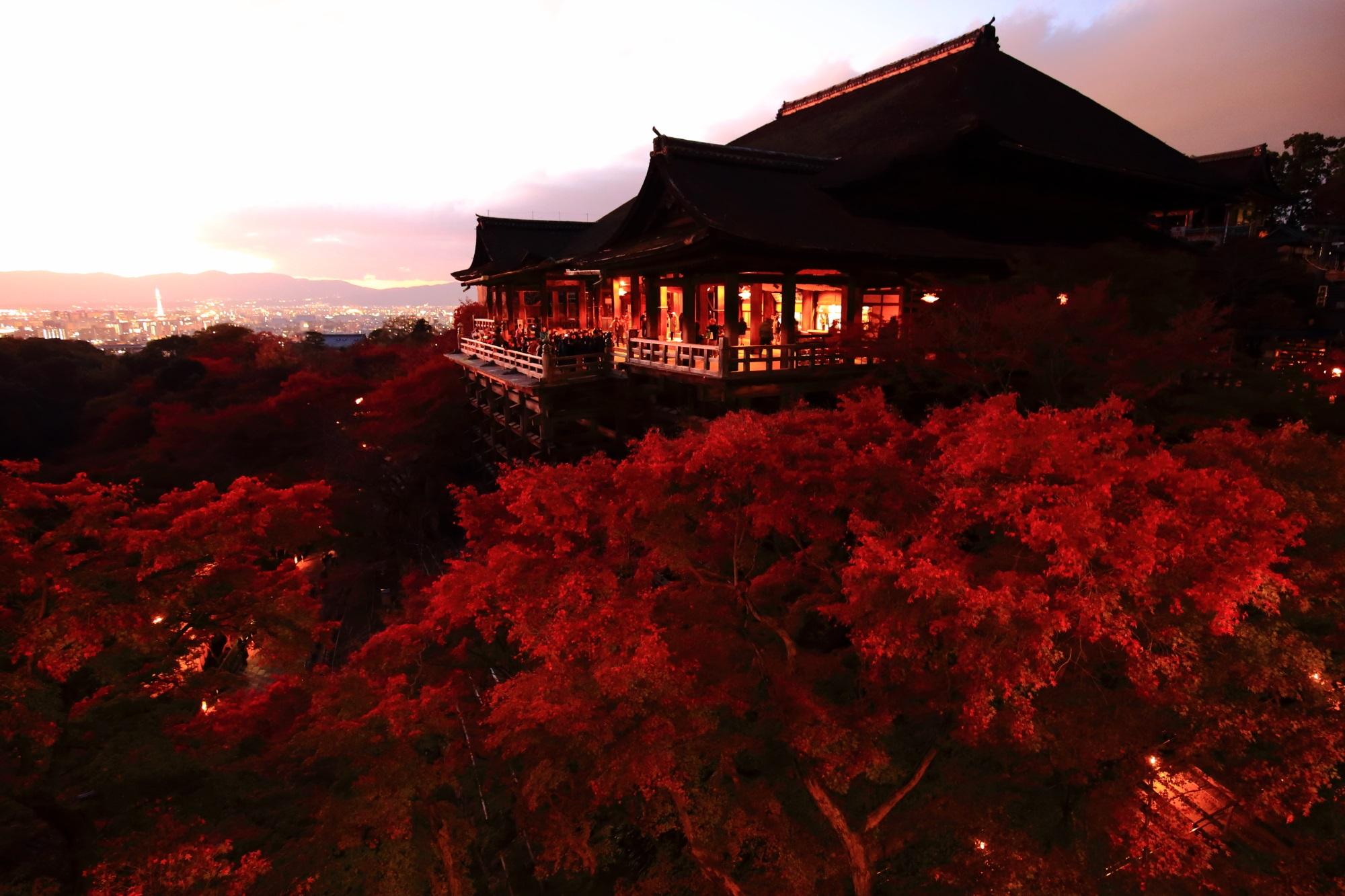 清水寺 夕焼け 紅葉 見ごろ 秋 真っ赤