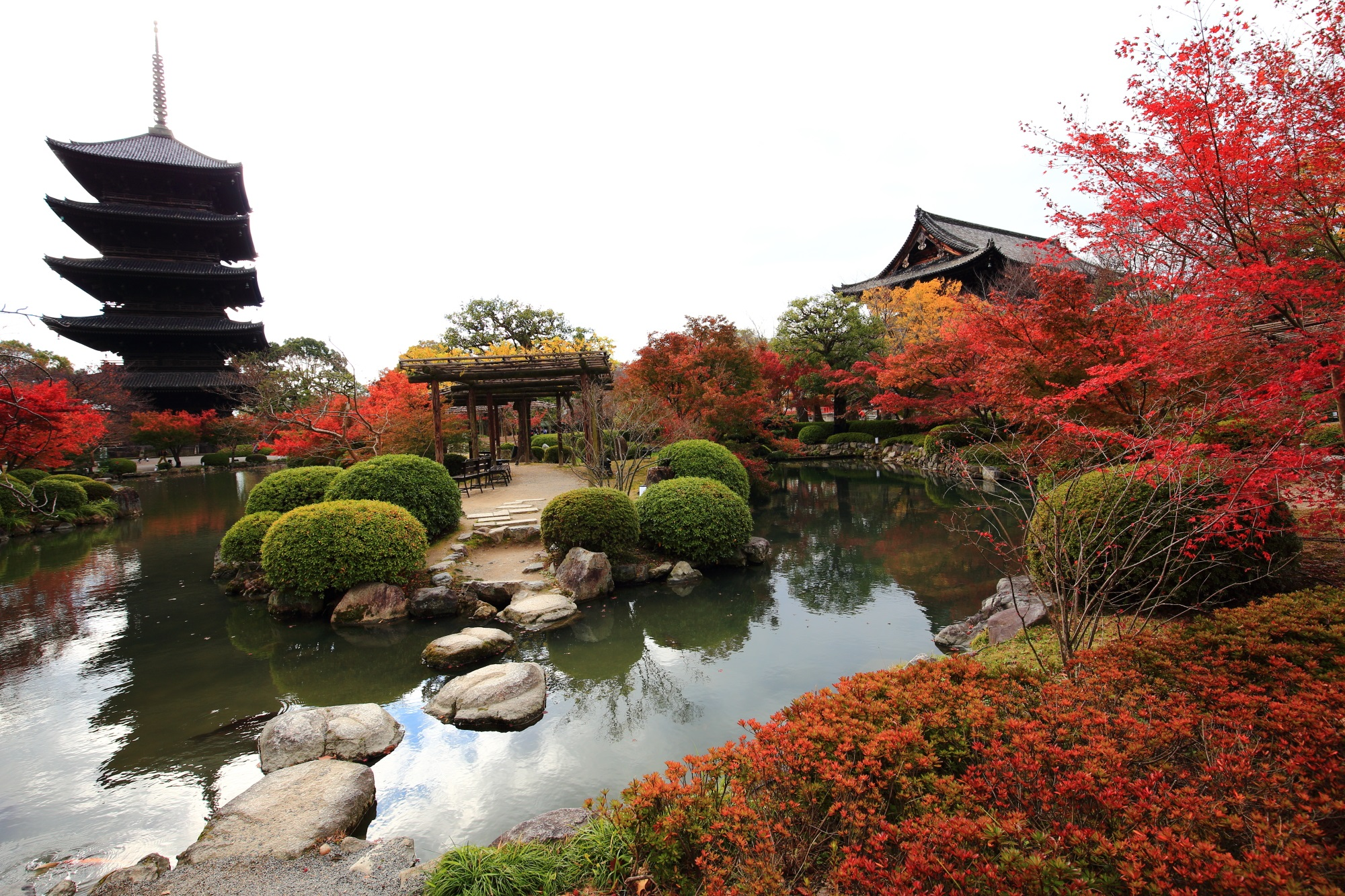 五重塔と瓢箪池と秋の彩り