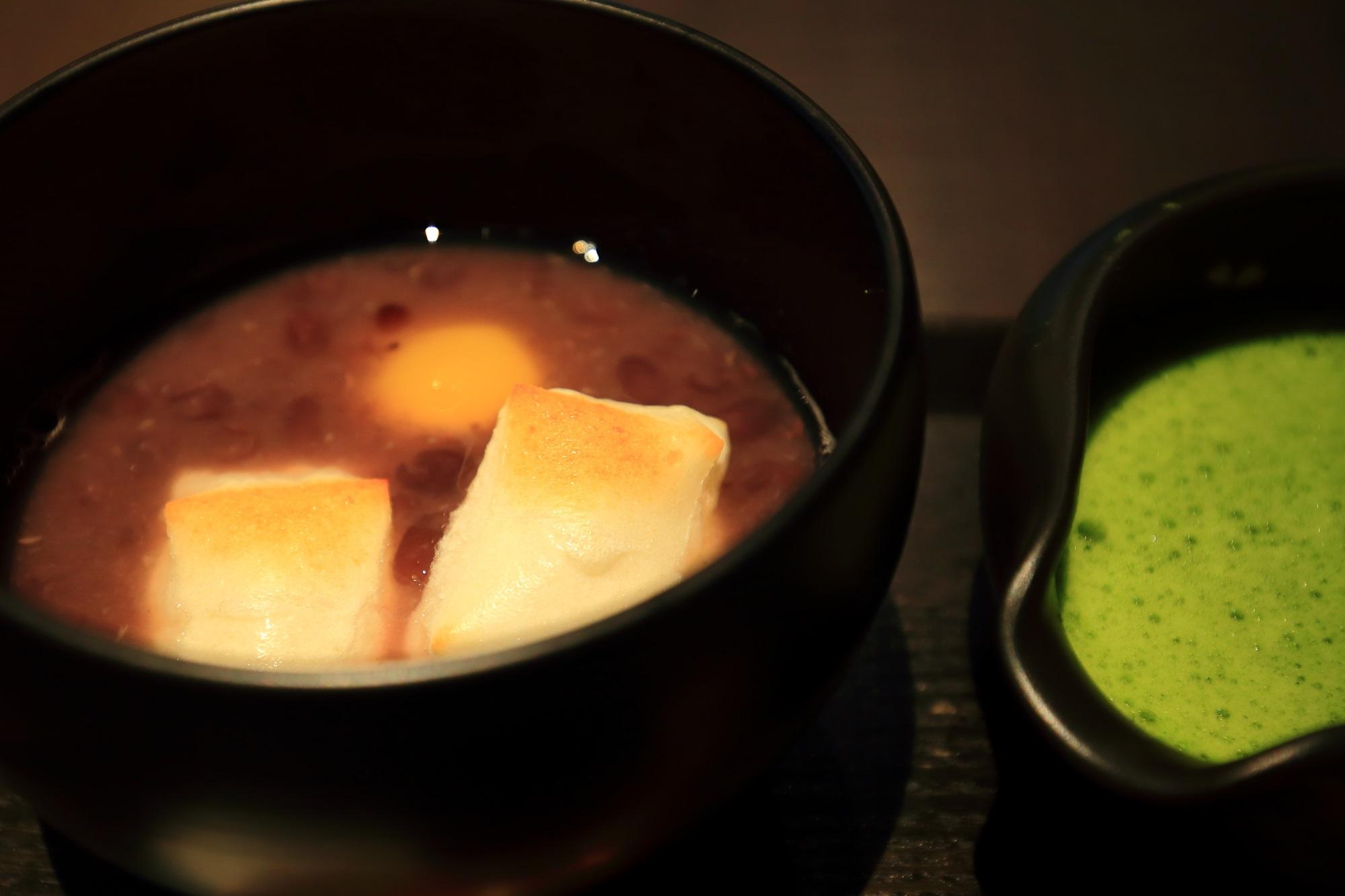 甘味処の茶寮翠泉(さりょうすいせん)の栗抹茶ぜんざい(税込880円)