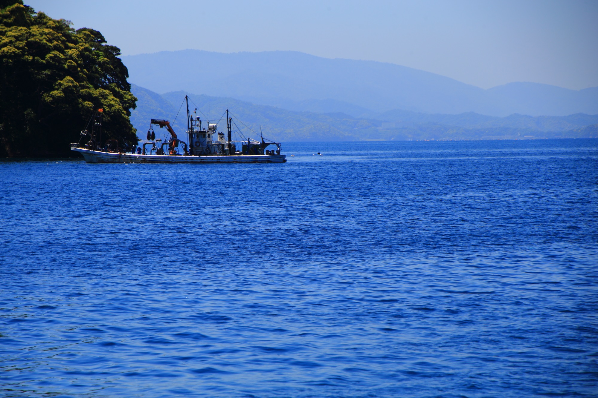 伊根湾を行き来する漁船
