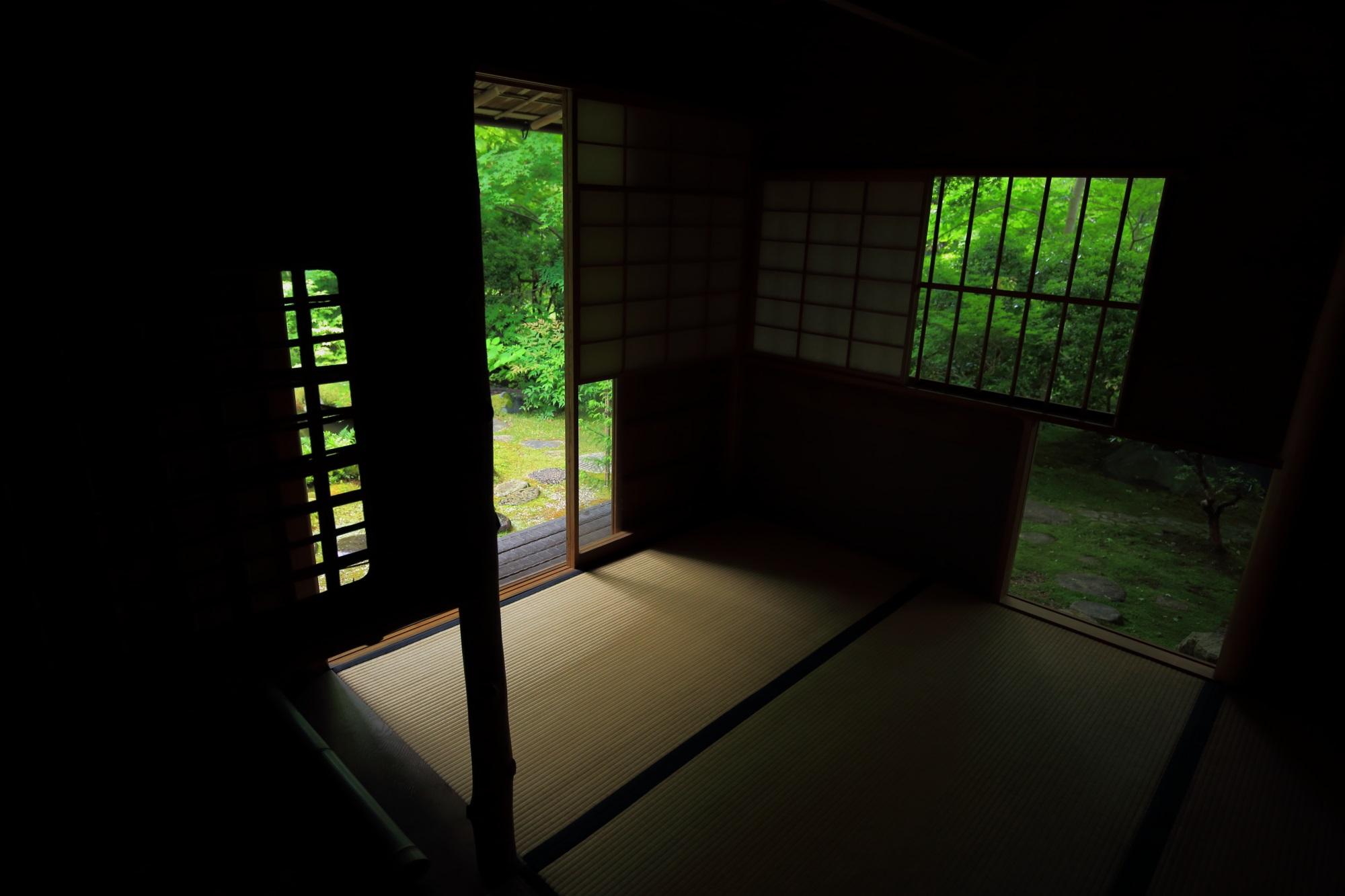 写真 瑠璃光院 高画質 茶室 新緑