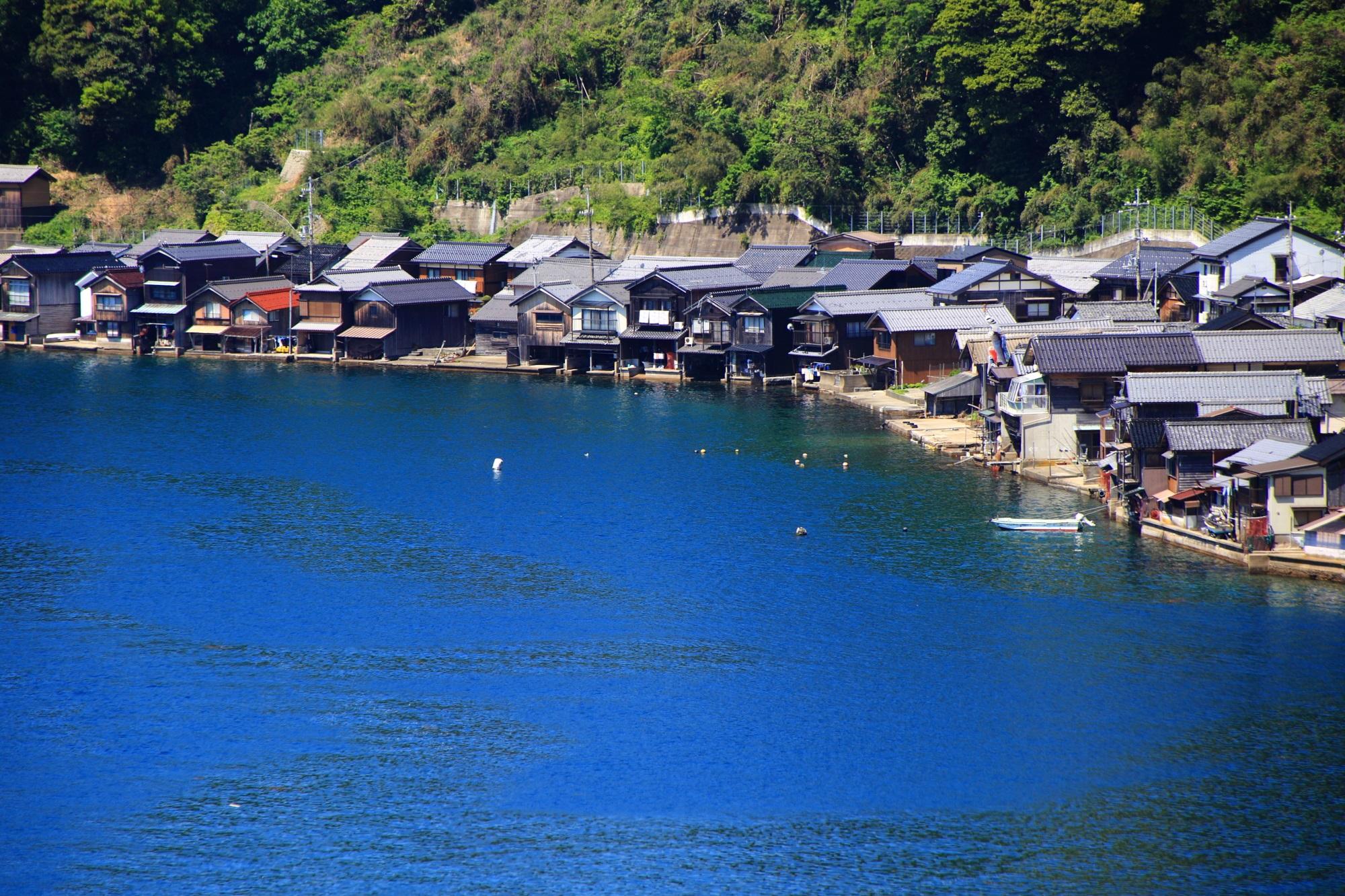 山の麓と海の間にびっしりと建つ伊根の舟屋