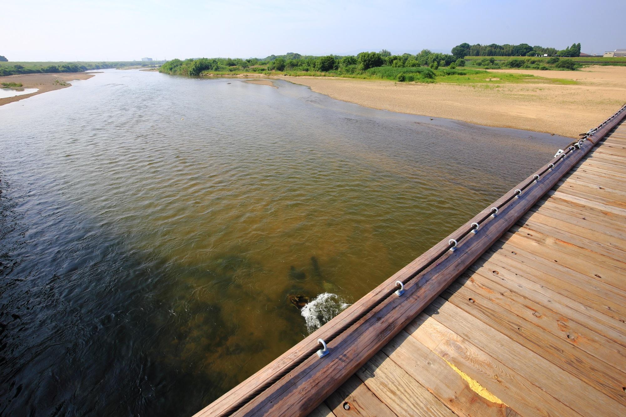 流れ橋 写真 高画質 木津川 上津屋橋