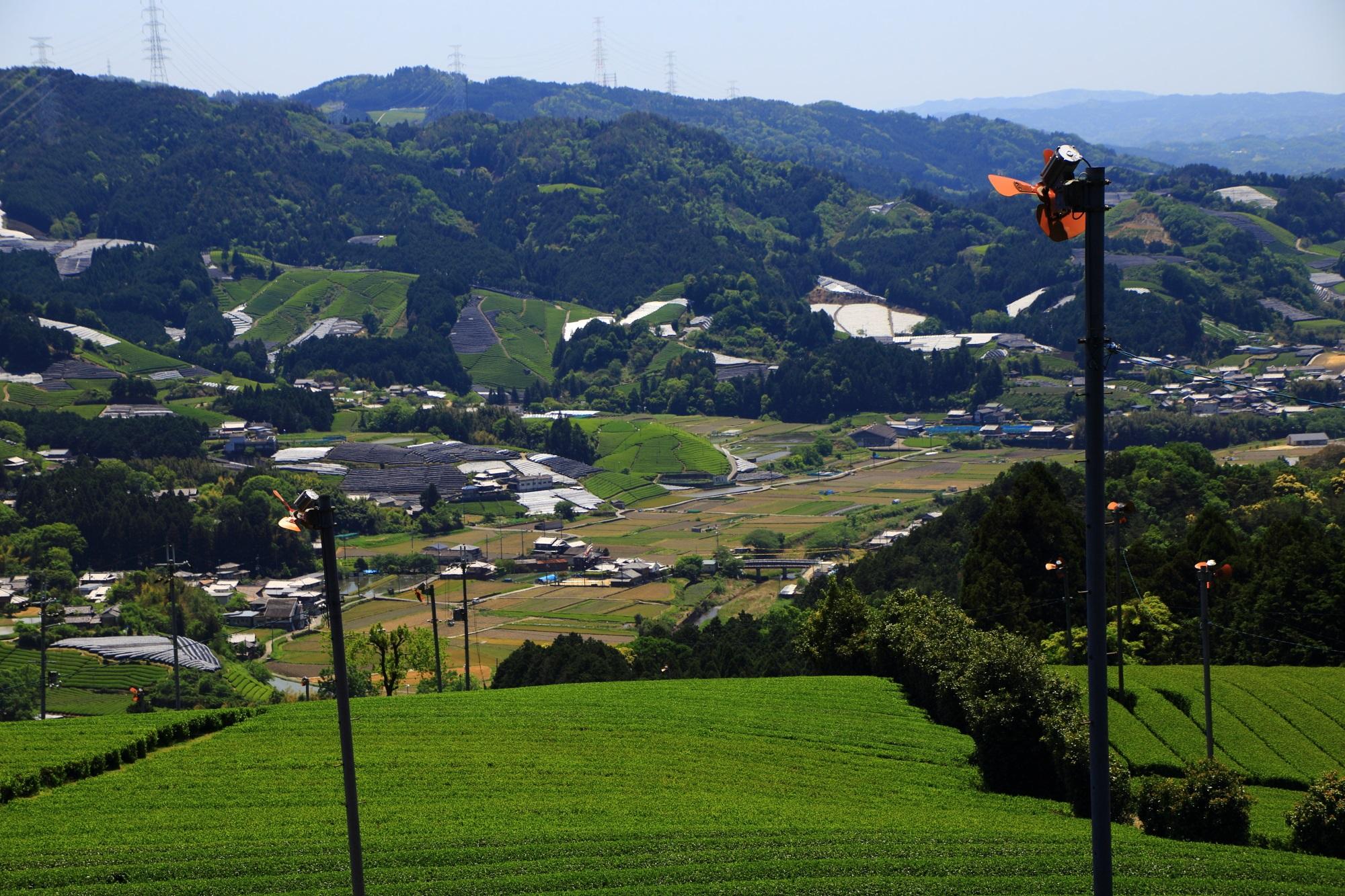 素晴らしい見下ろす原山地区のお茶畑と町の景色