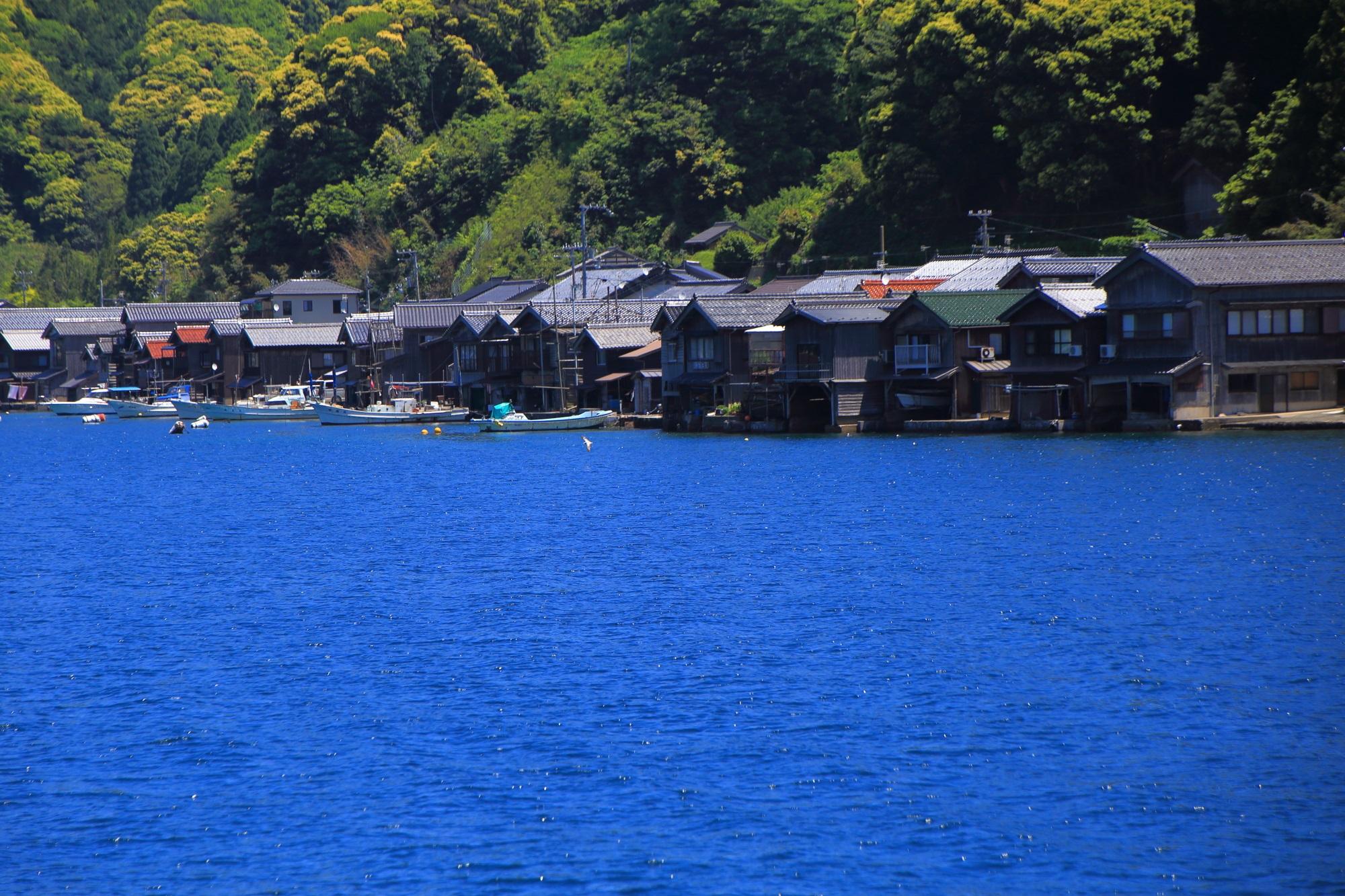 伊根の建ち並ぶ舟屋群と青い海