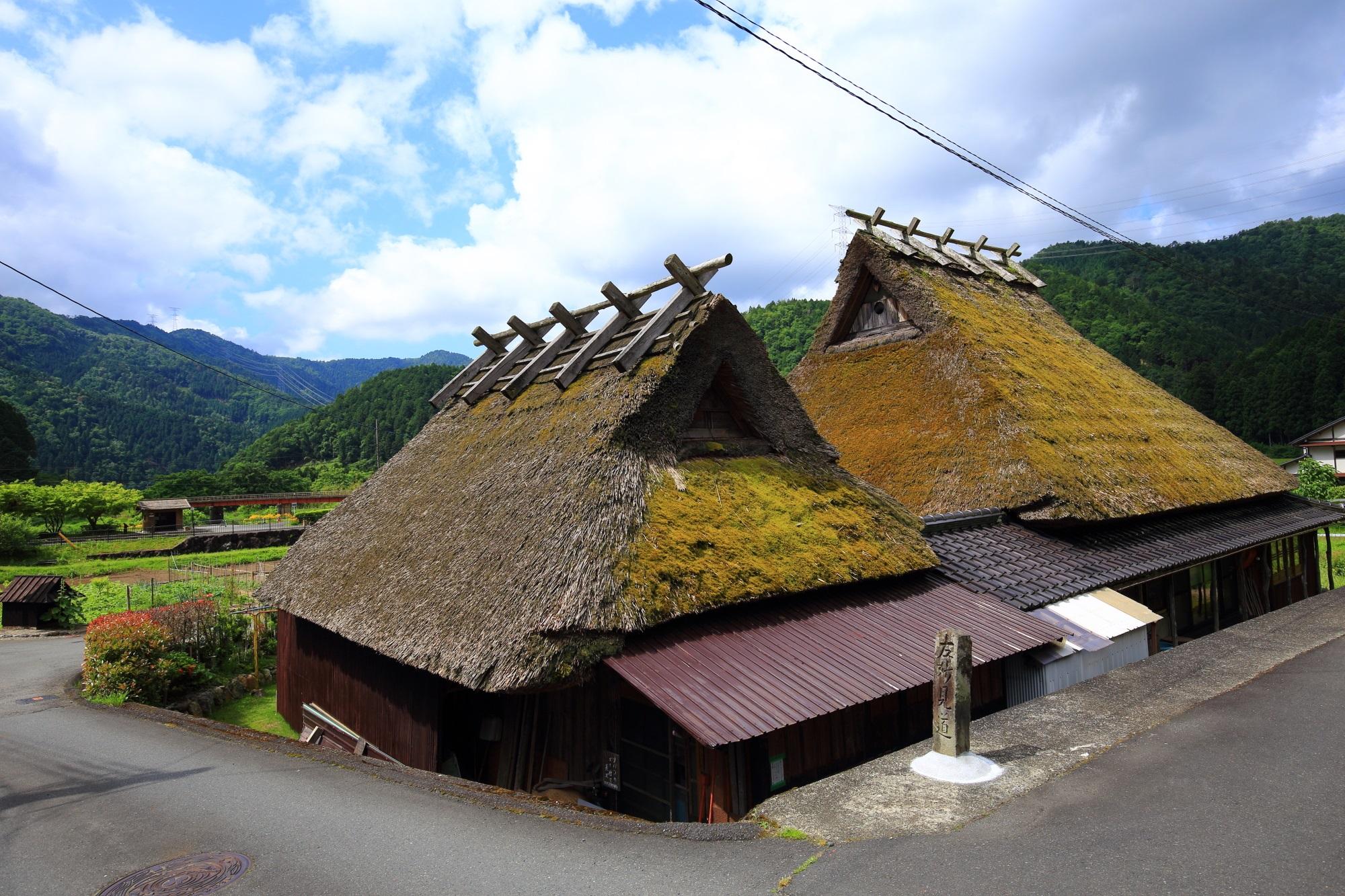 江戸時代に建てられた建物が約四割ほどしめるかやぶきの里