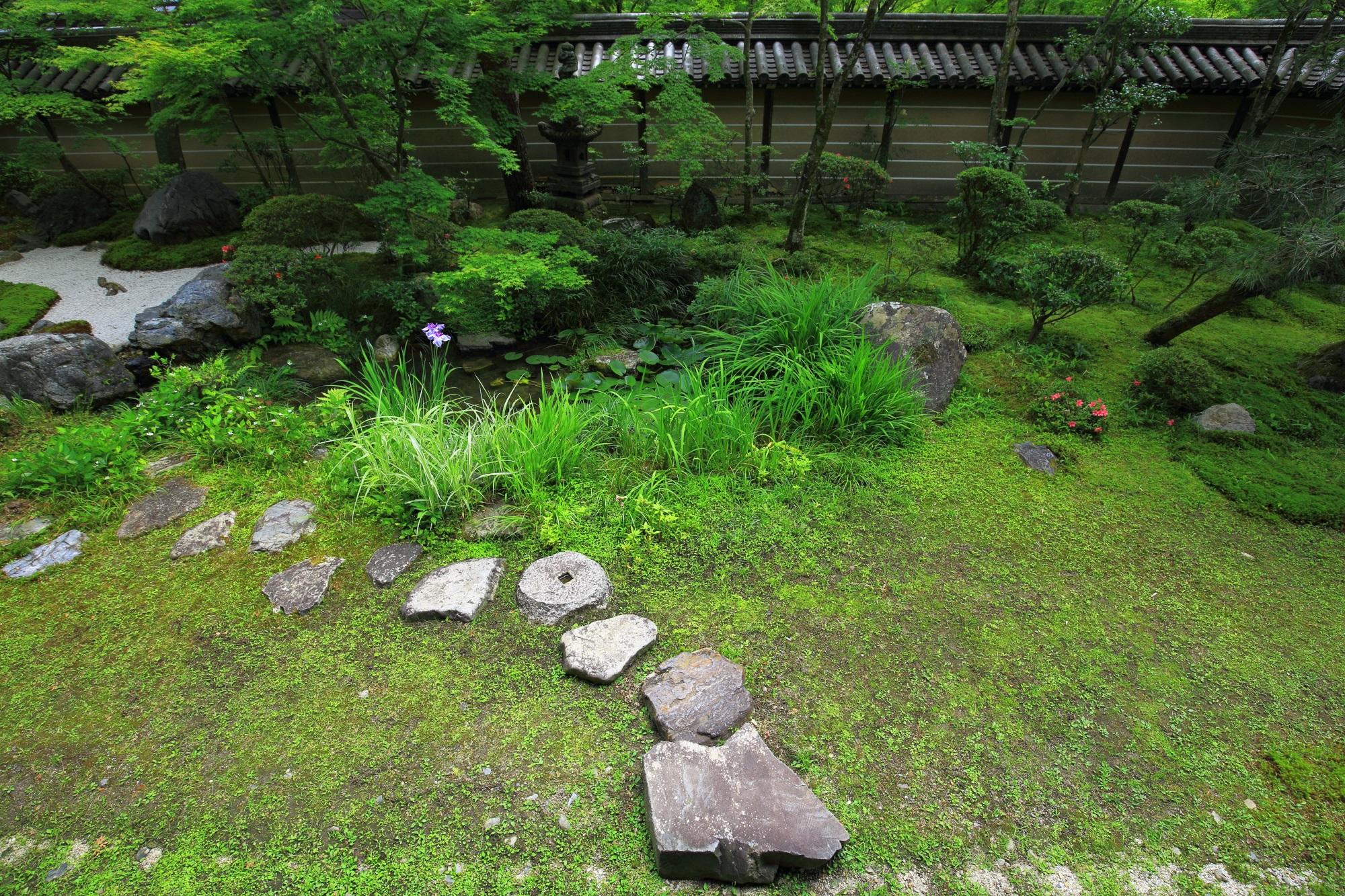 方丈南庭の美しい苔と白砂と飛び石