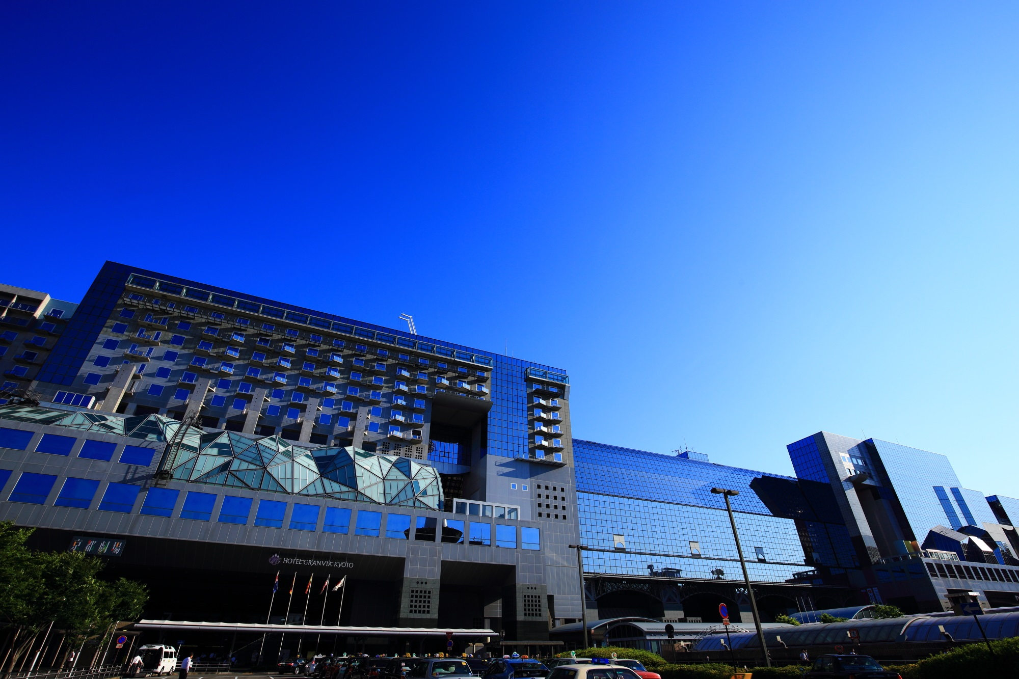 Kyoto Station Building and the blue sky in Japan