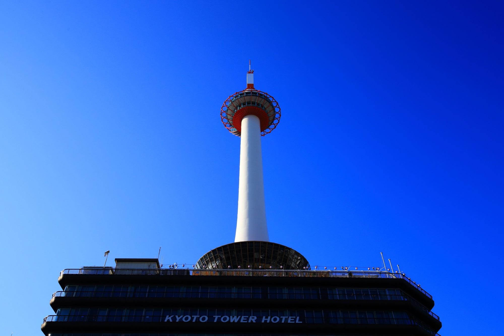 京都タワー 高画質 写真 青空 綺麗