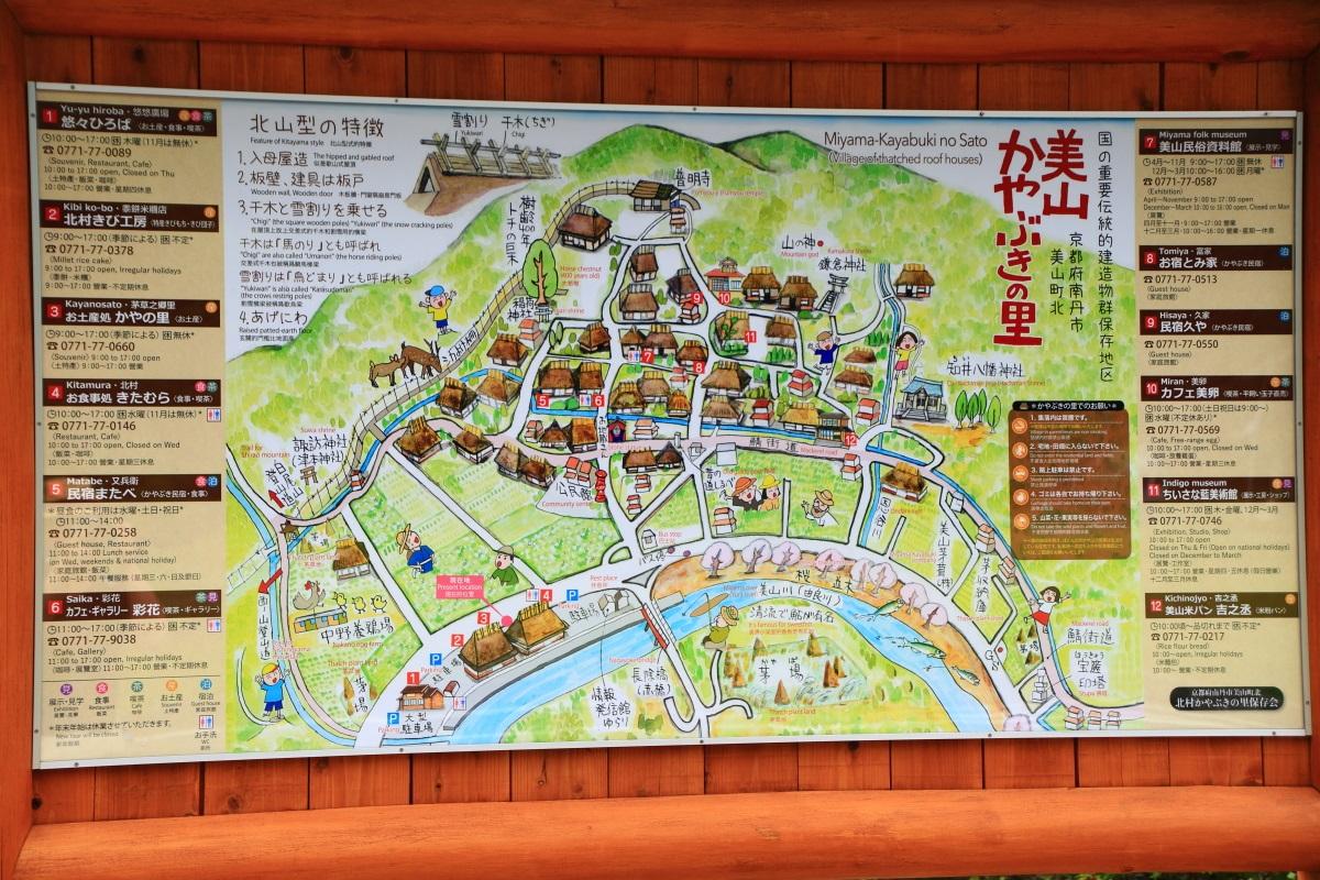 美山町のかやぶきの里の地図と説明