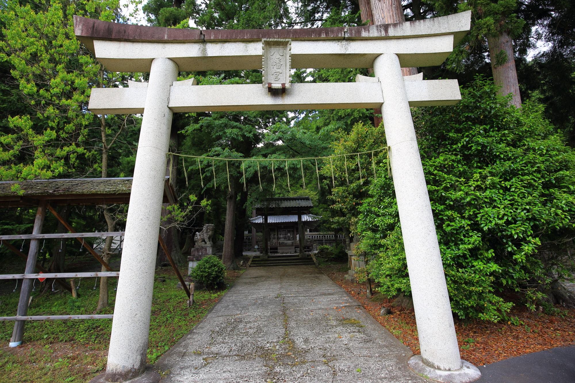 村の東の丘の上にある「知井八幡神社」