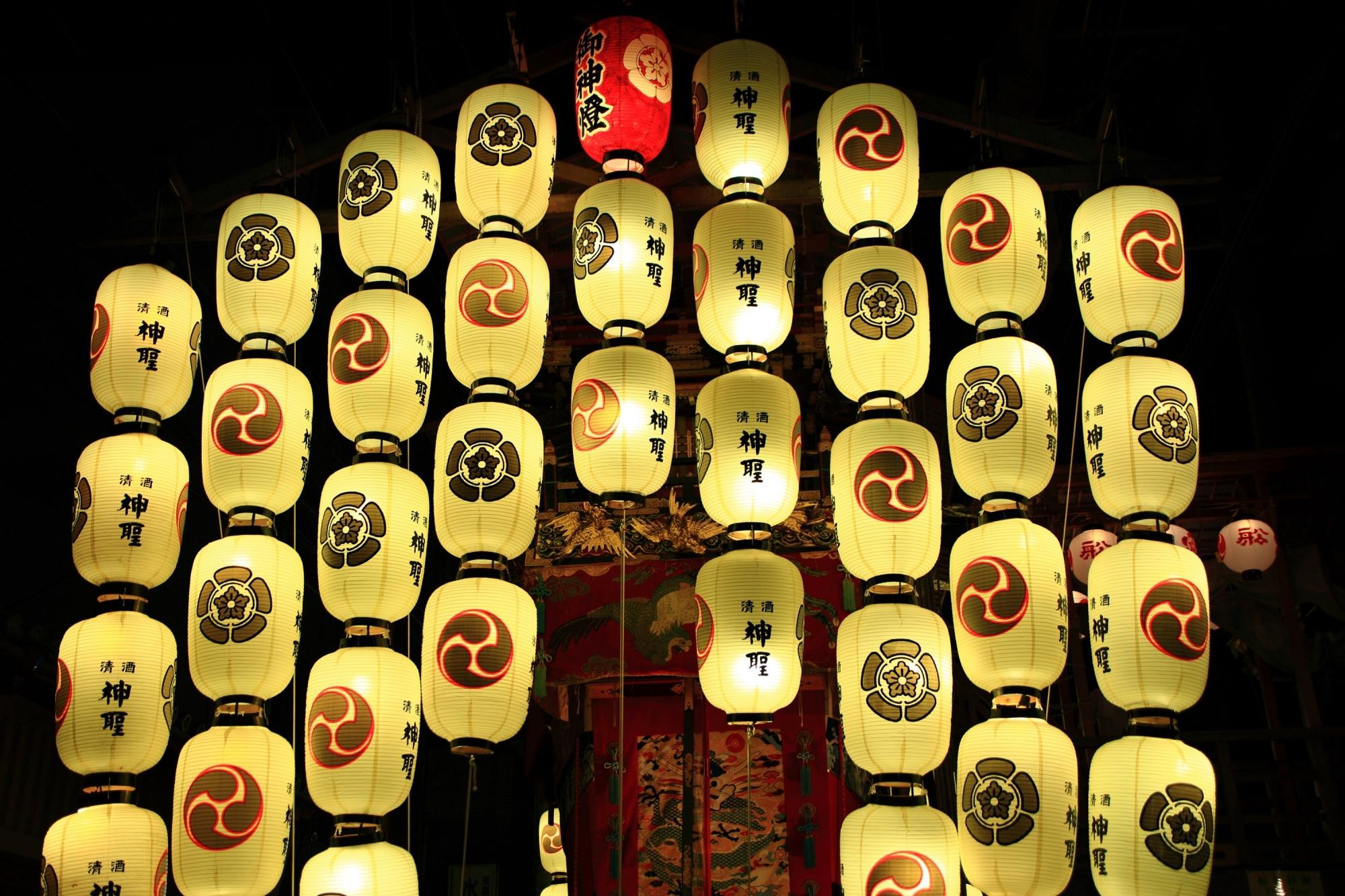 祇園祭の宵々々山の船鉾の駒形提灯