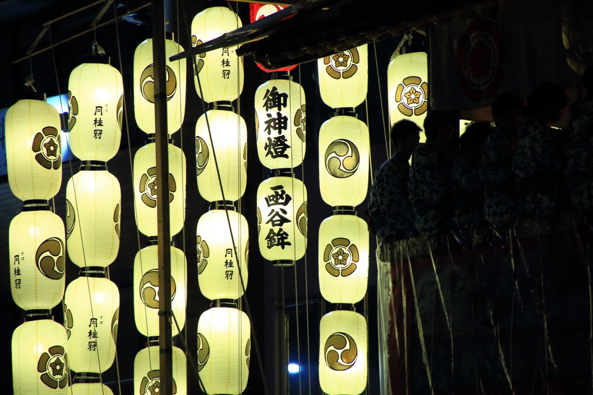 祇園祭の宵山の函谷鉾の駒形提灯